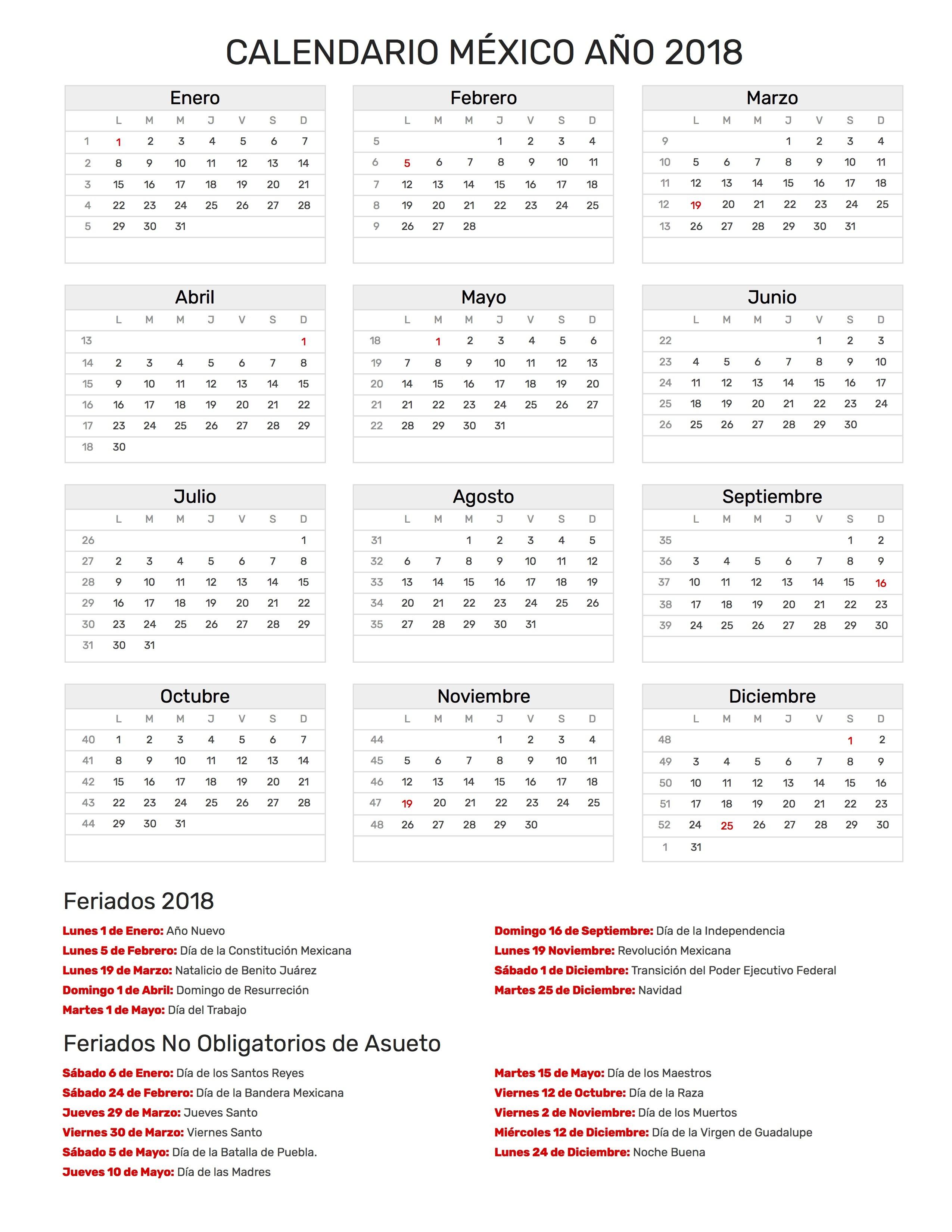 Calendario para Imprimir de Mĩxico con feriados nacionales