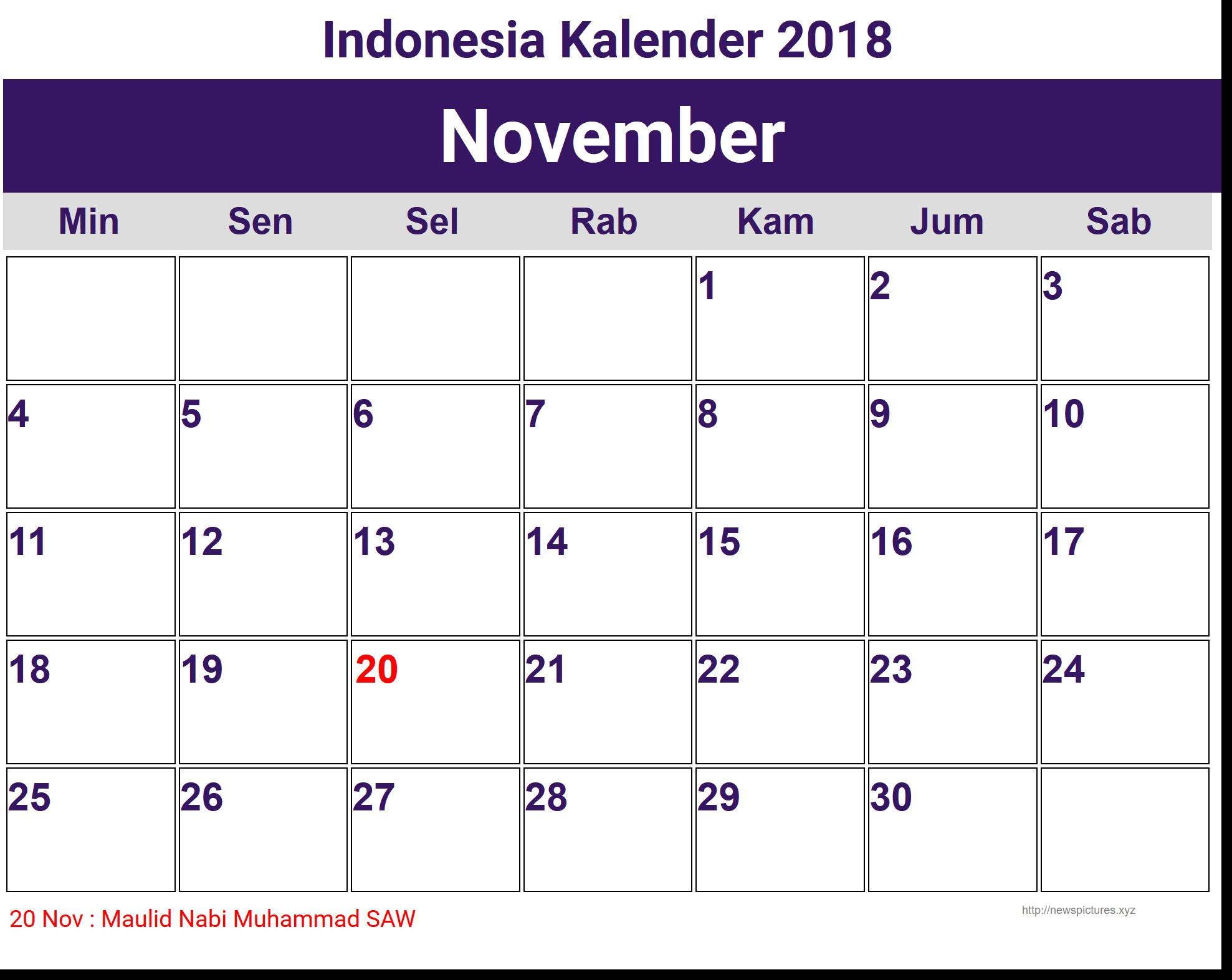 Image for November Indonesia Kalender 2018