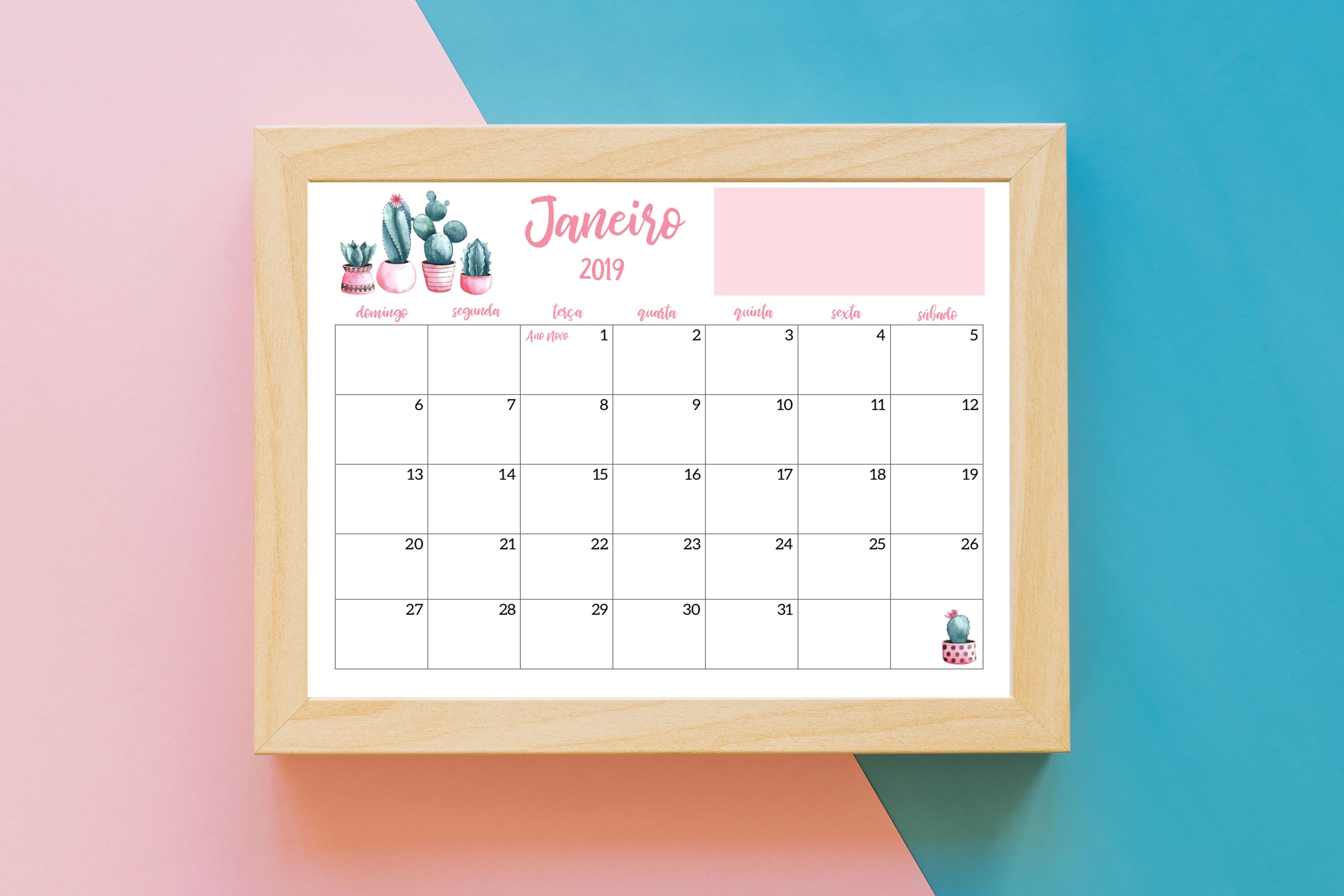 Calendƒ¡rio 2019 Cactos Rosa Pdf Feriados Nacionais datas emorativas organizaƒ§ƒ£o o ƒºltimo trimestre de