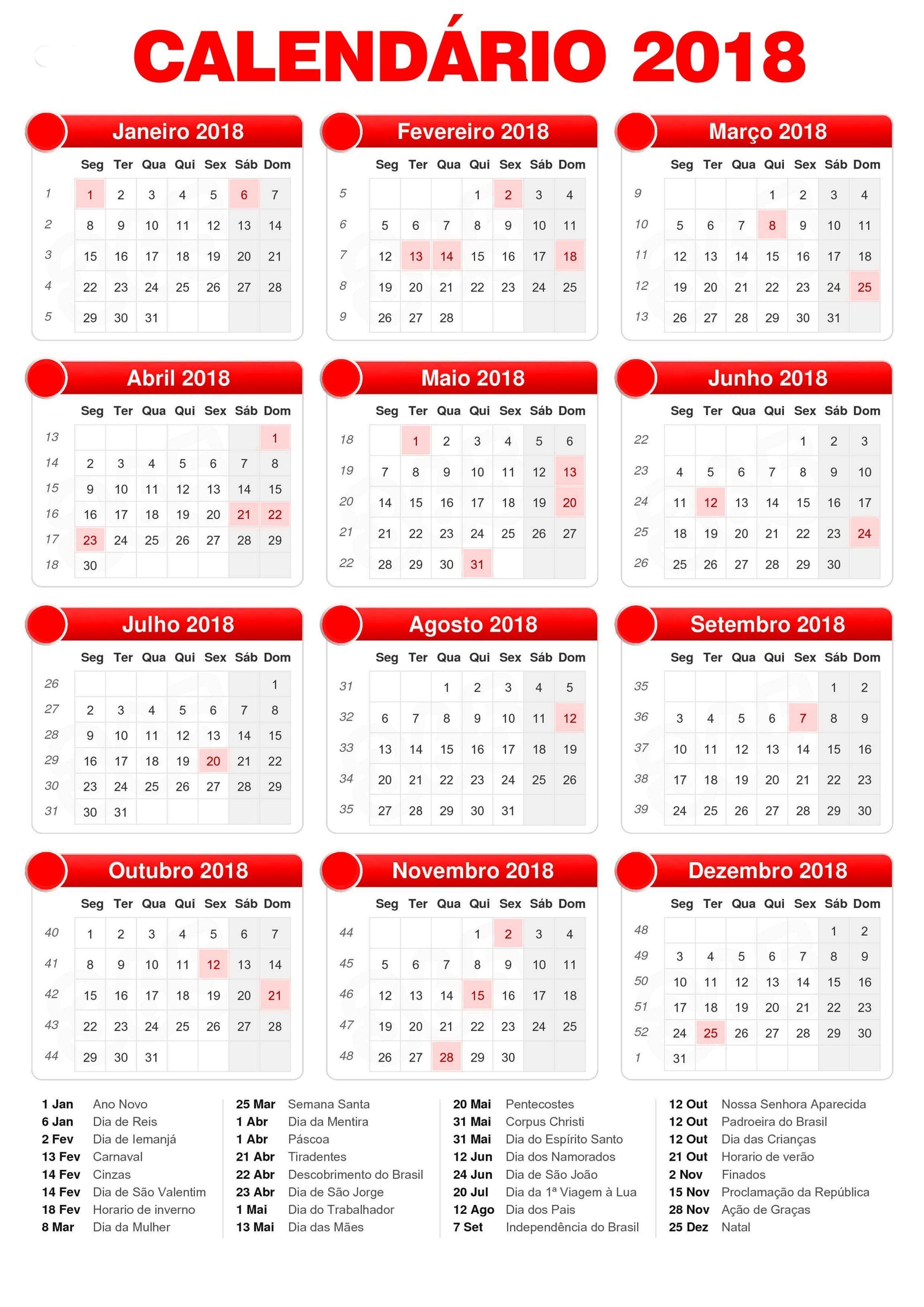 calendario 2018 feriados 2018 2018 2019 Calendƒ¡rio 2018