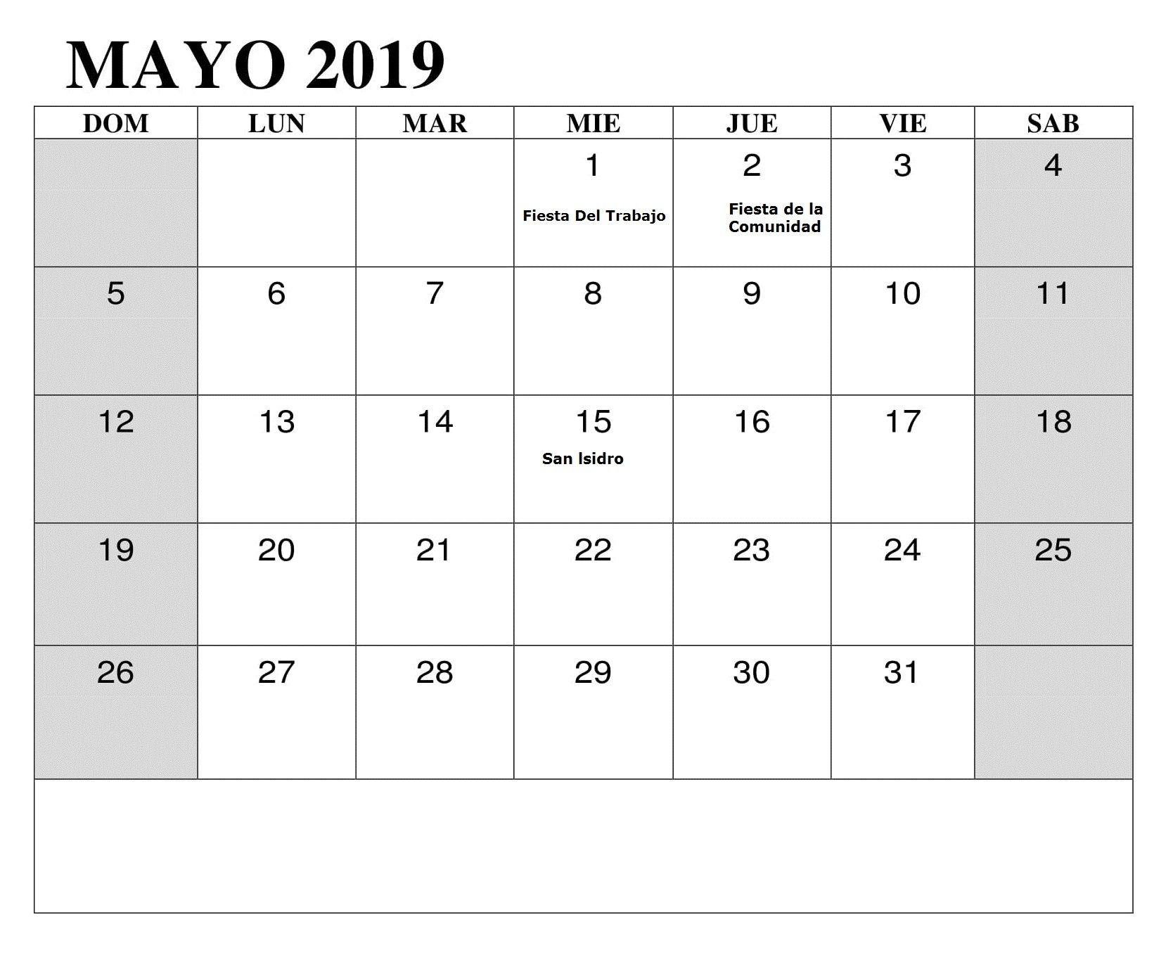 Mayo 2019 Con Festivos Calendario Lista De Tareas