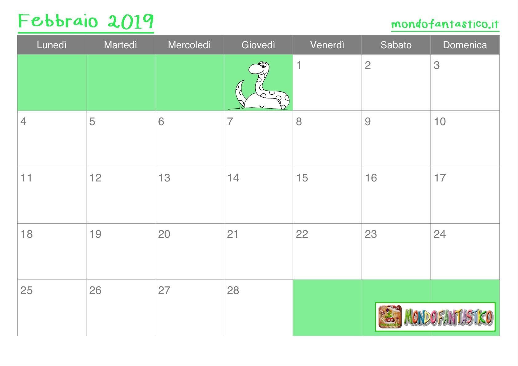 Calendario Per Bambini Mese Di Febbraio Mondofantastico