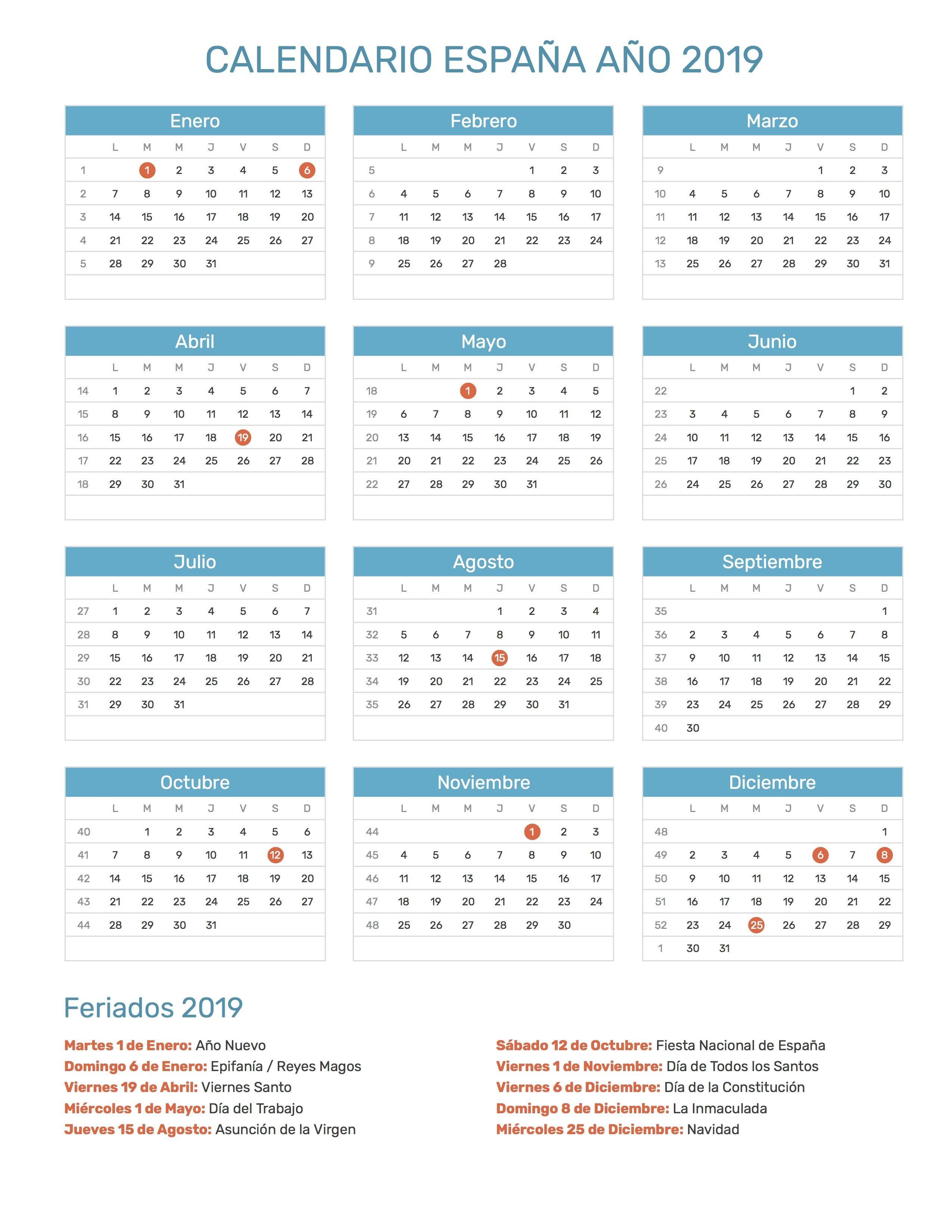 Pin de Calendario Hispano en Calendario con feriados aıo 2019