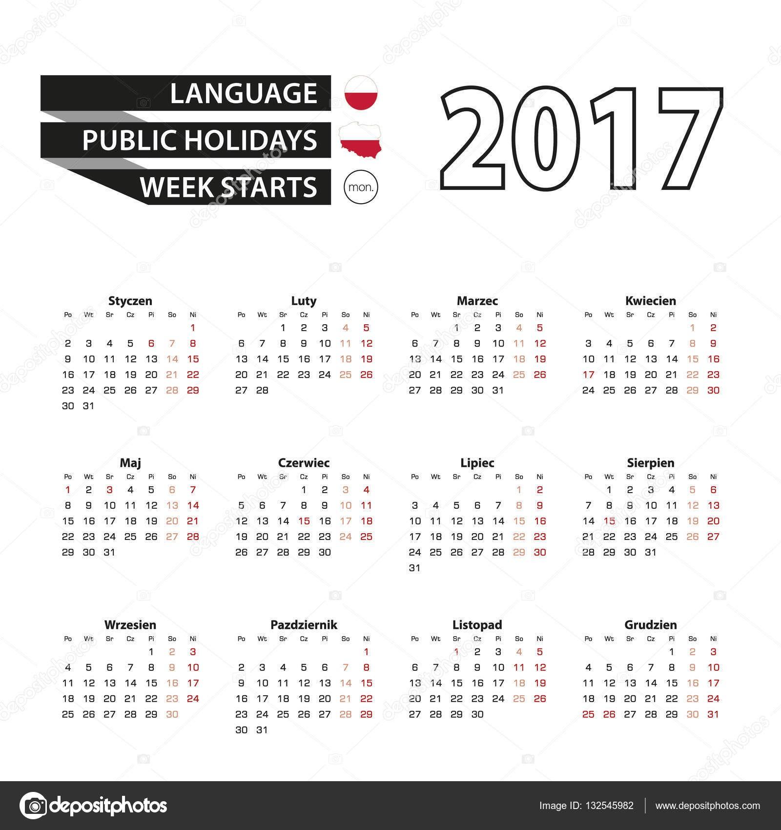 Calendario 2017 en lengua polaca Con los das festivos en Polonia en el a±o 2017 La semana ienza en el lunes Calendario simple