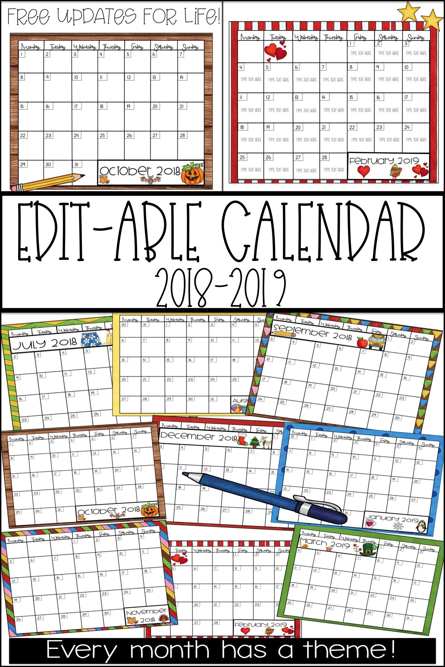editable calendar 2018 2019 all kindergarten tpt pinterest