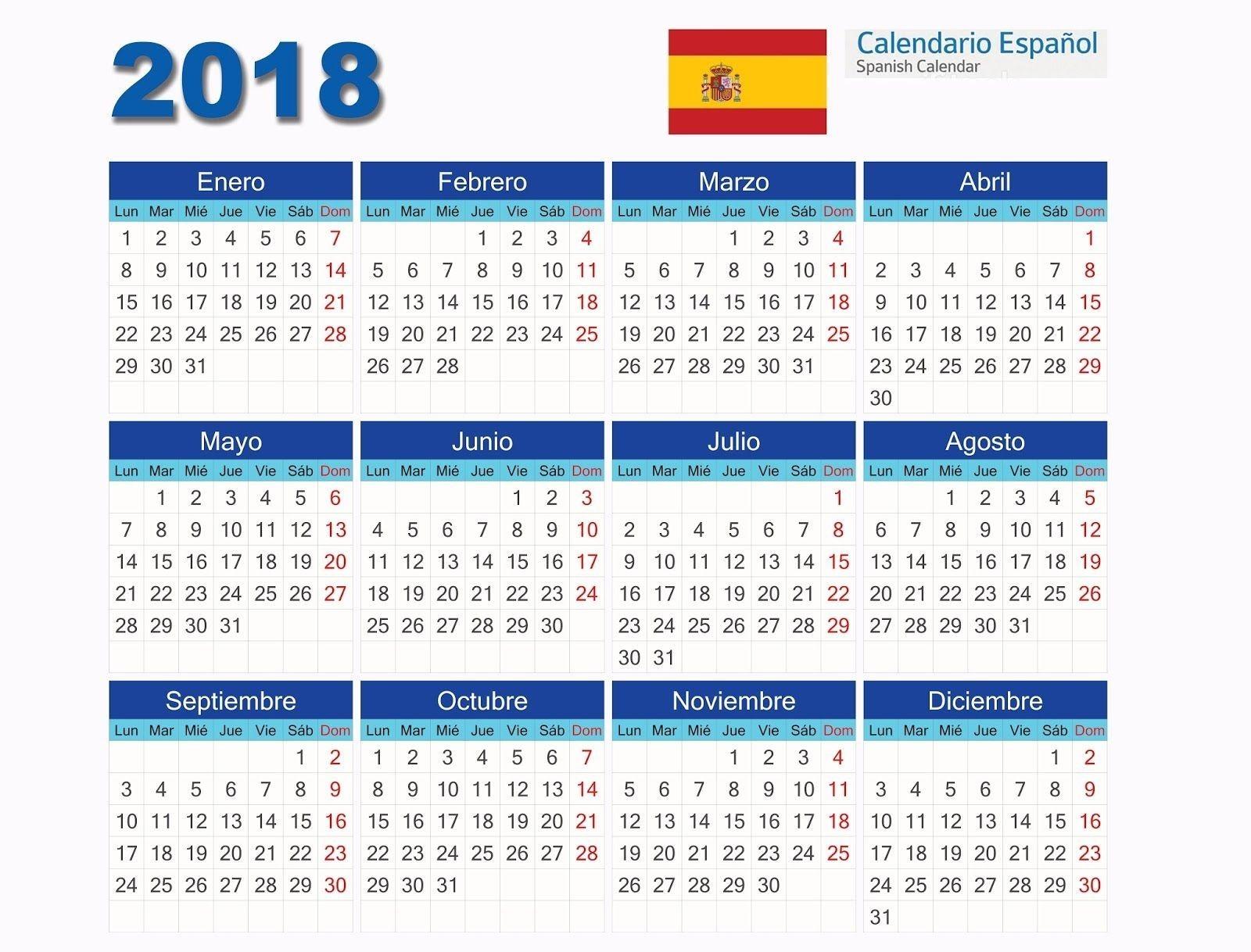 2019 Calendar Dates Australia Calendários 2018 Espanhol Para Edi§£o No Coreldraw Adobe Shop