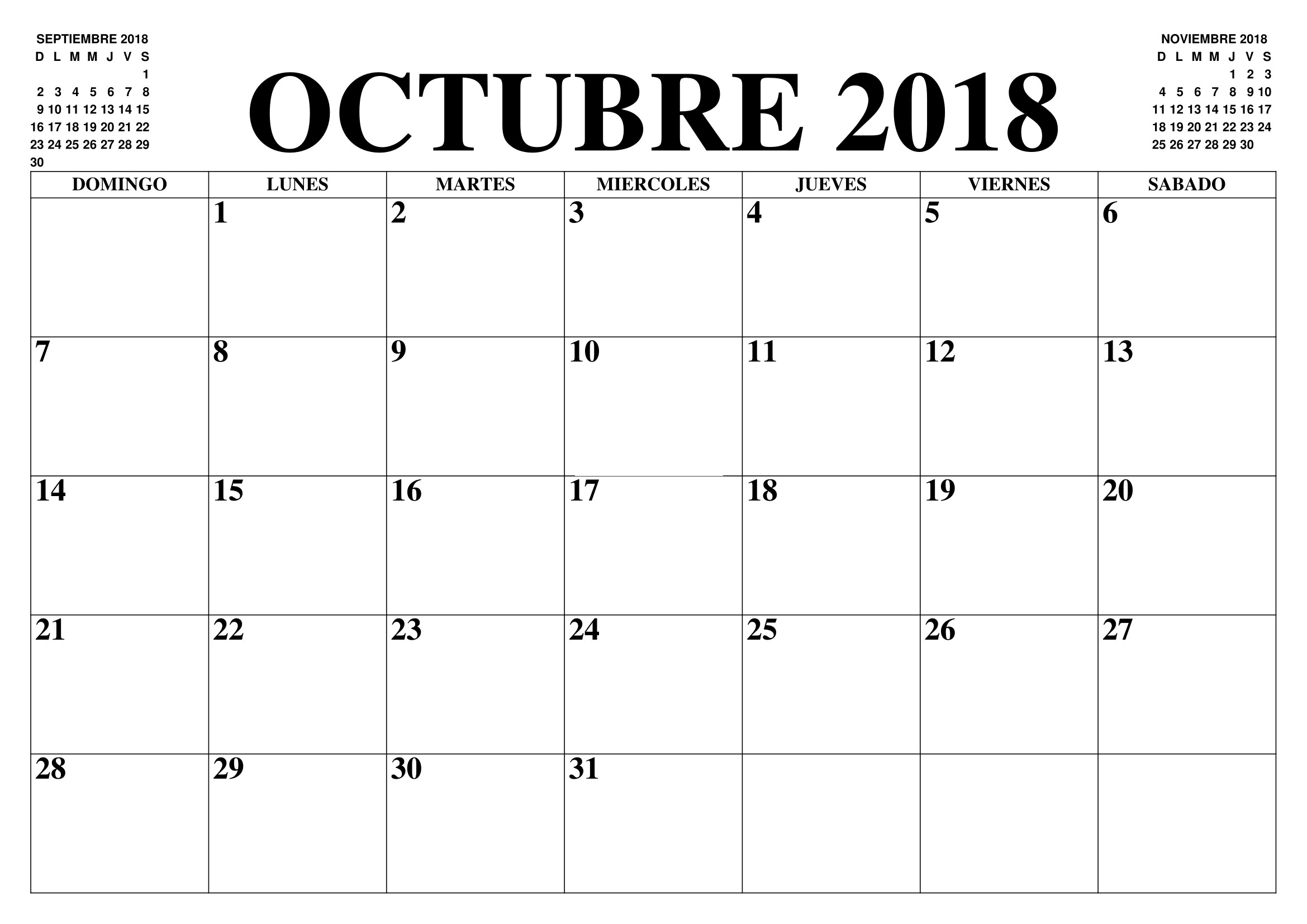 Calendario Mes De Octubre 2018 Gratis Best Reviews 2019