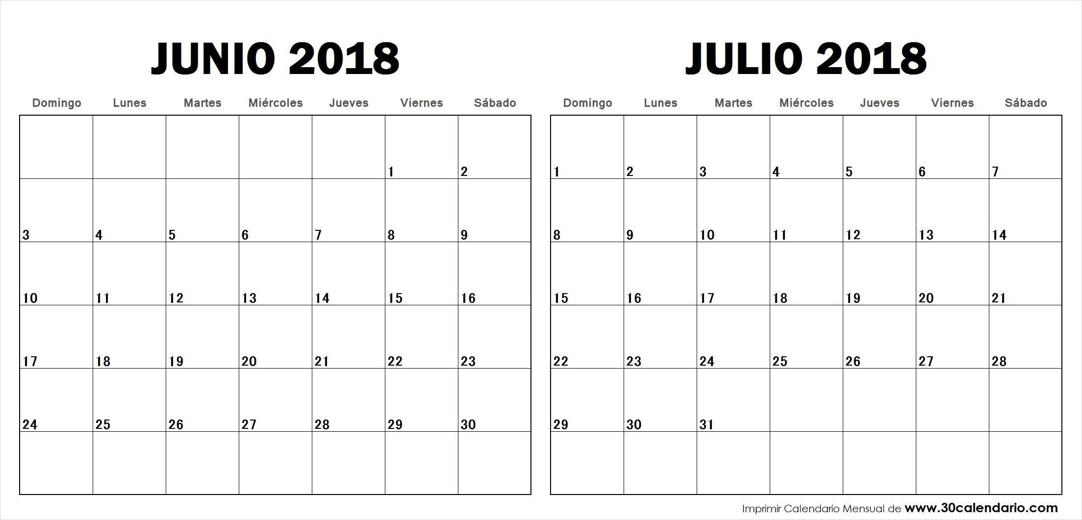 Junio Julio 2018 Calendario Con Notas