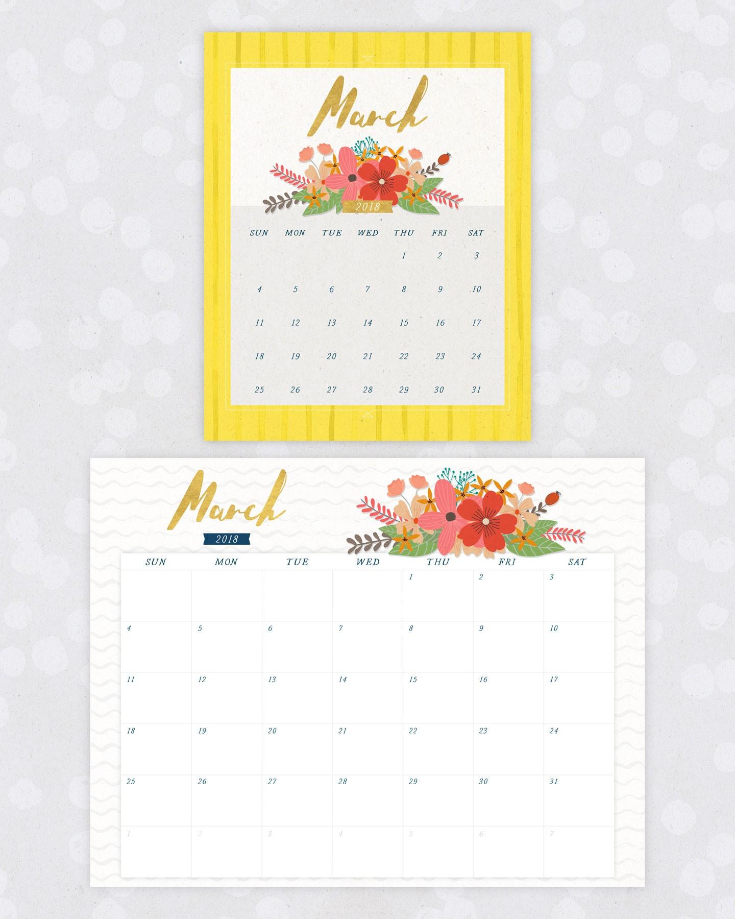 2018 March Floral Calendar