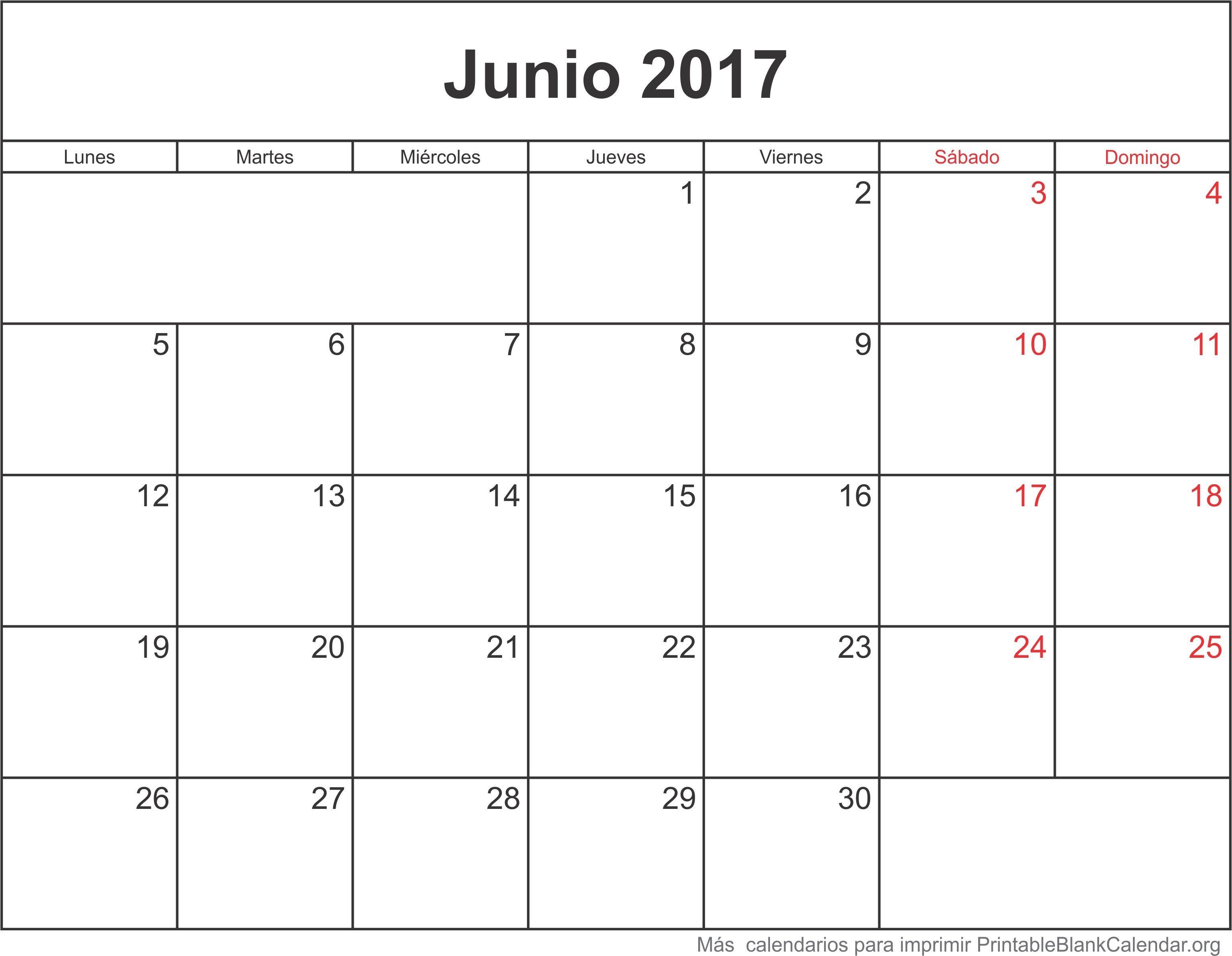 Calendario Jun 2017 Para Imprimir Junio 2017 Calendario