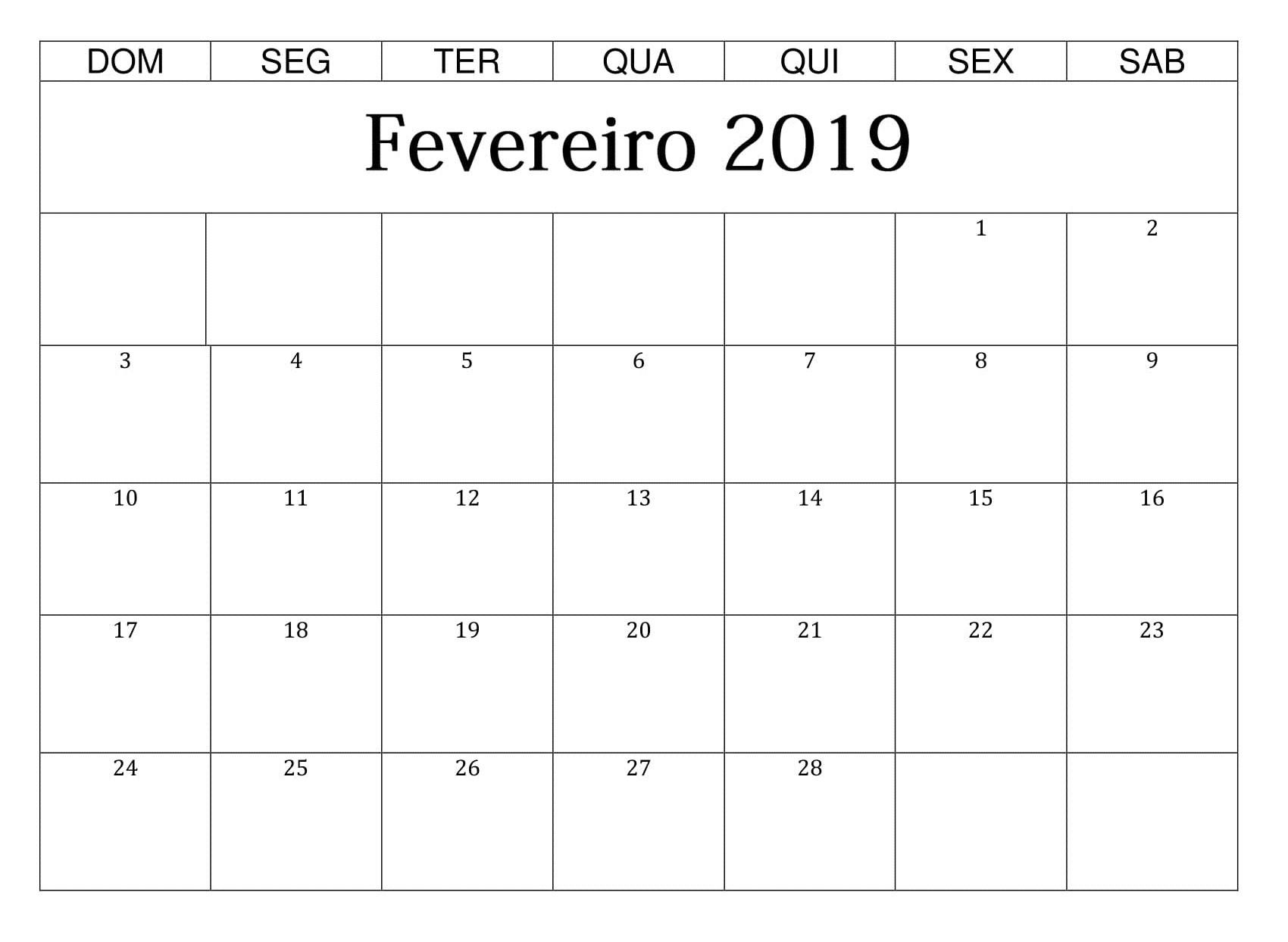 CALENDRIO FEVEREIRO DE 2019 LINDO PARA IMPRIMIR FERIADOS E