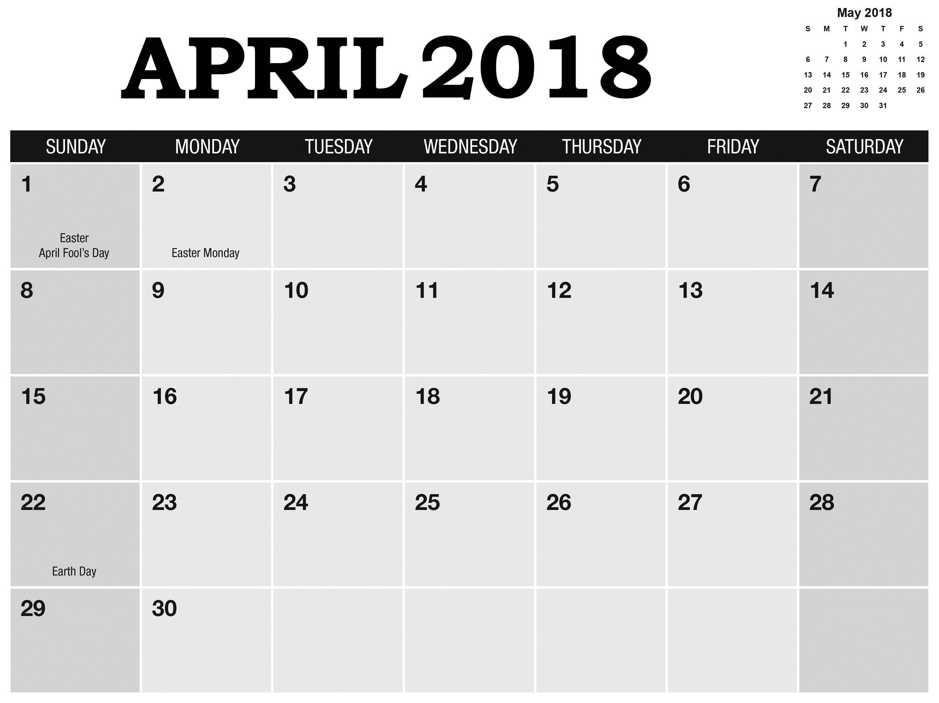2018 April Holidays Calendar