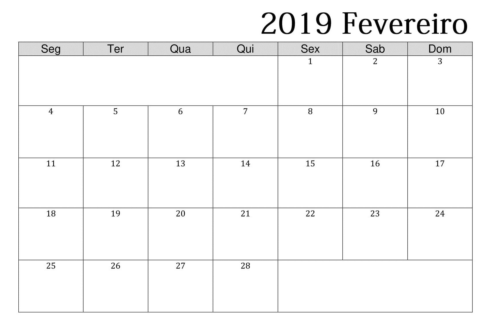 Calendario 2019 Portugal Recientes Calendrio Fevereiro De 2019 Lindo Para Imprimir Feriados E