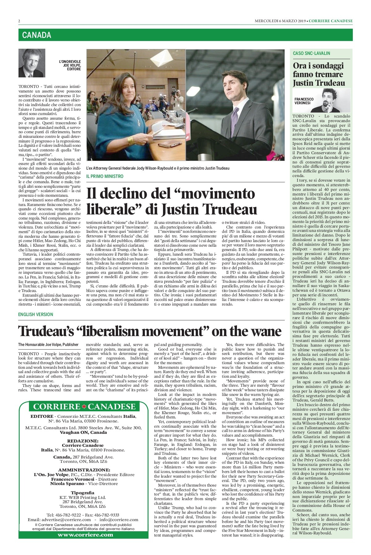 Corriere Canadese 06 03 2019 Pages 1 16 Text Version