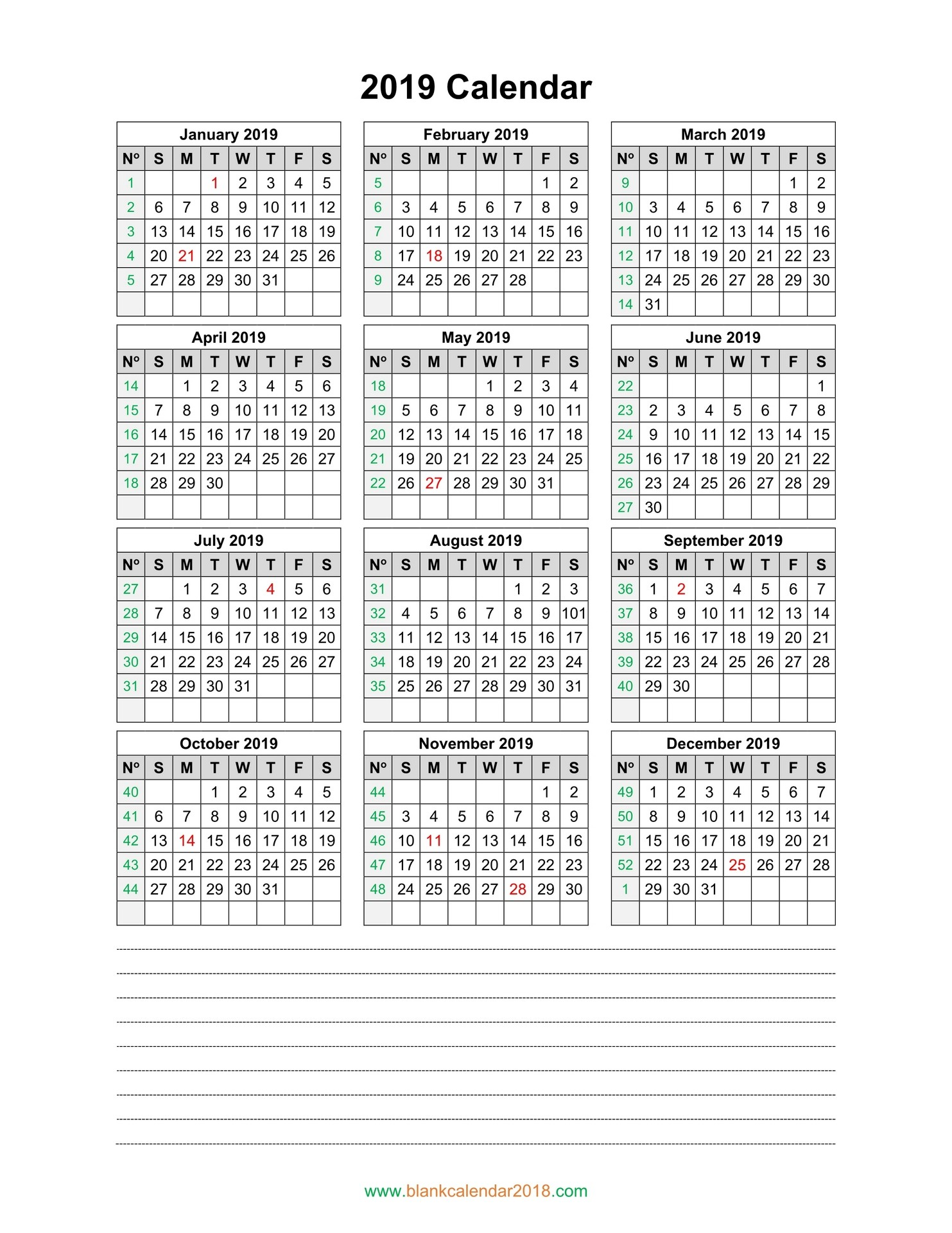 Blank Calendar 2019 2019 Printable Yearly Calendar Portrait
