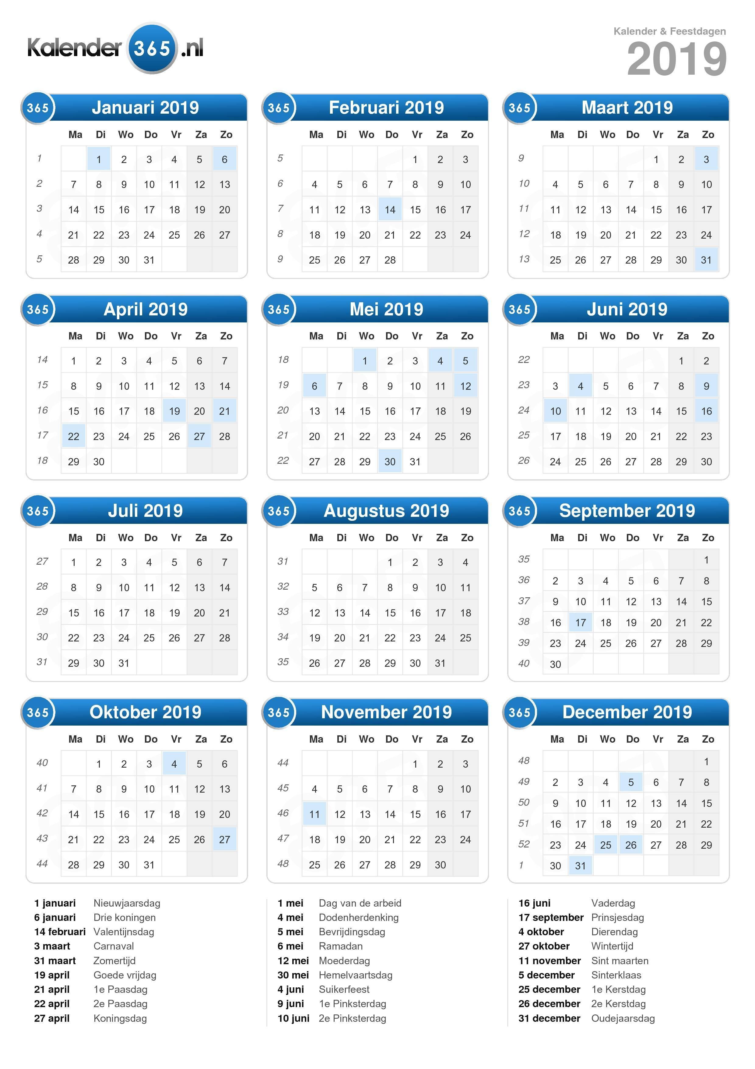 kalender 2019 staand formaat