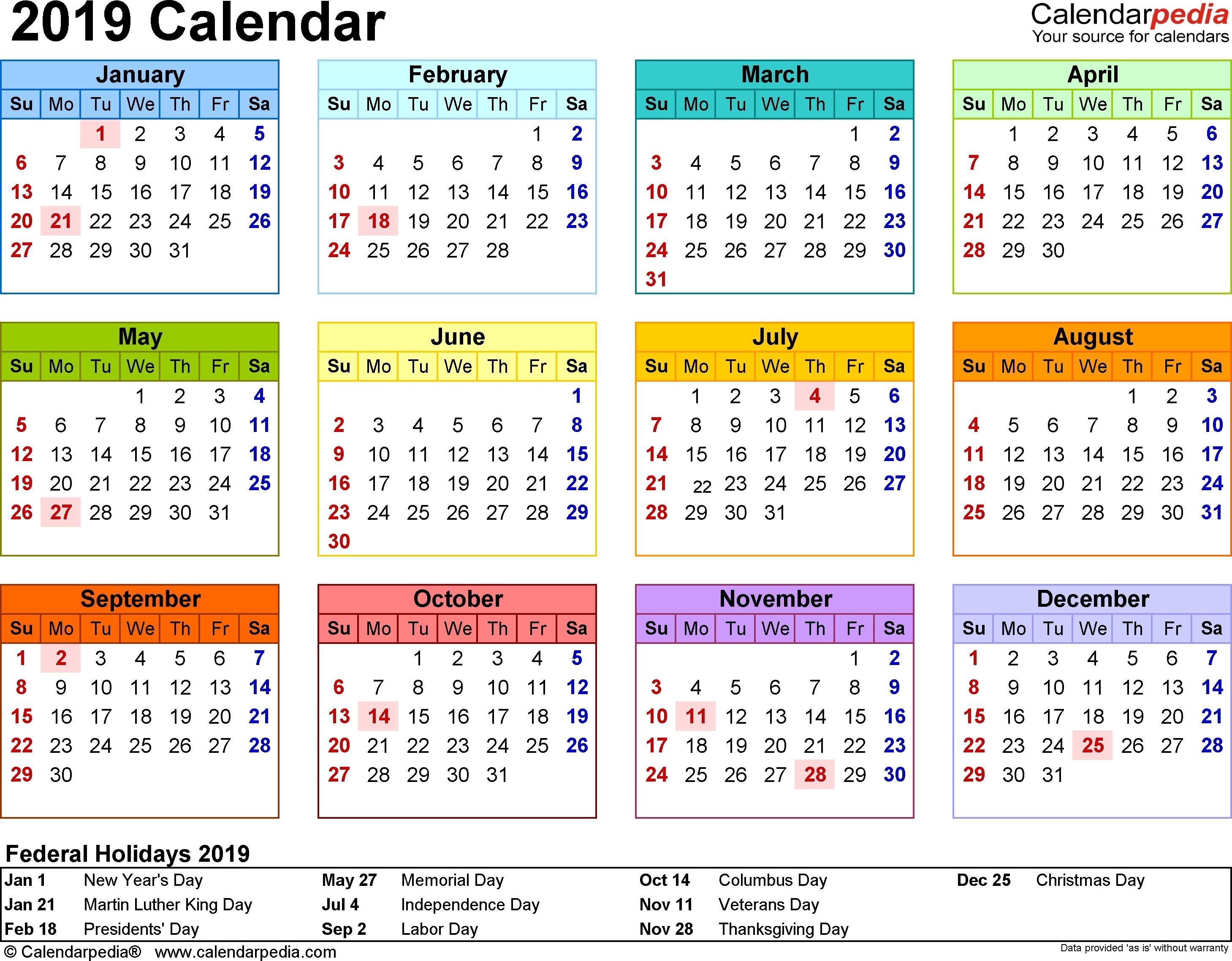 2019 Calendar Template Checkbook Size Calendar