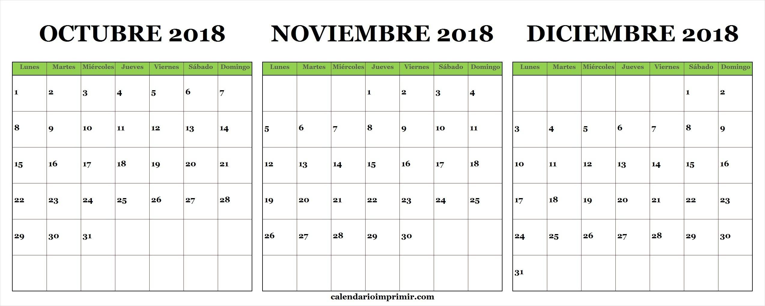Imprimir Calendario Agosto Septiembre Octubre Noviembre Diciembre 2018 Enero 2019 Chile Calendario De Octubre Noviembre Diciembre