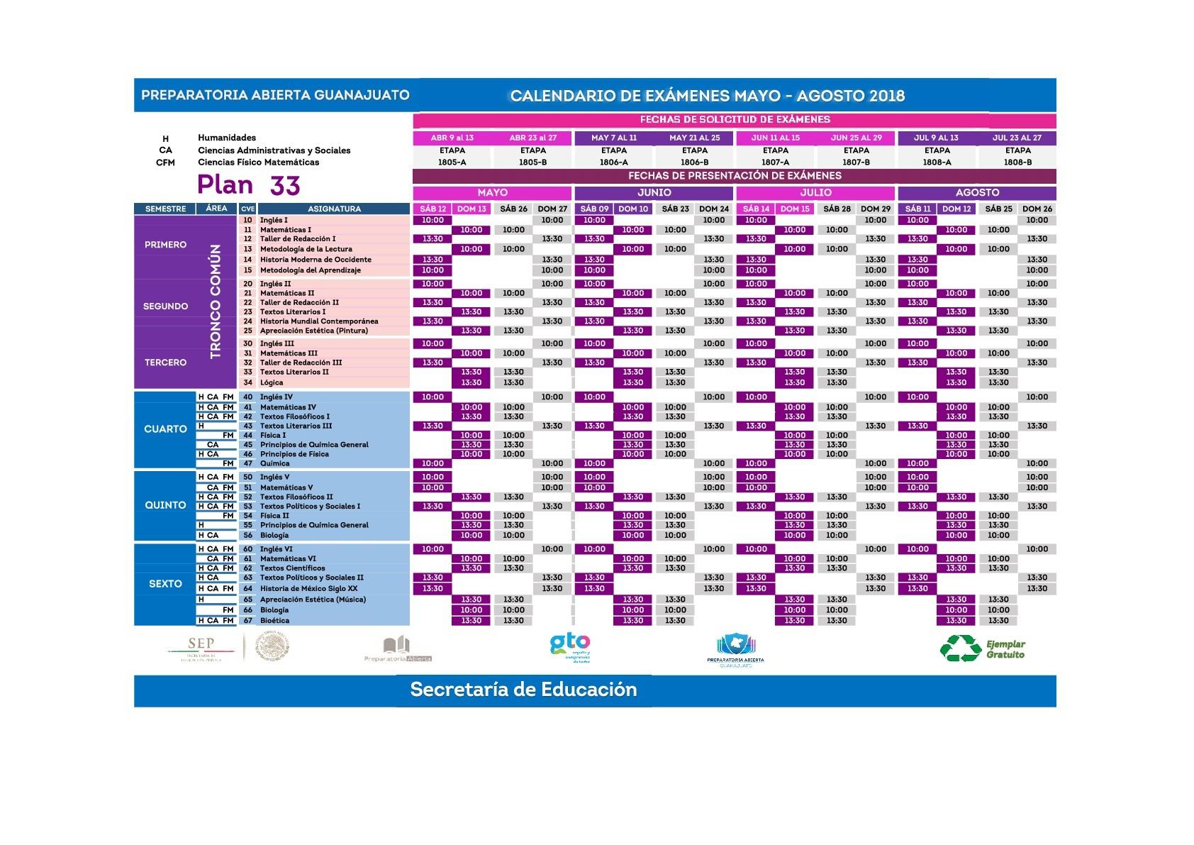 """CENTRO DE ASESORA"""" conforme al calendario oficial que PREPARATORIA ABIERTA operados por SEIEM a través de la CALENDARIO DE SOLICITUD Y PRESENTACION"""