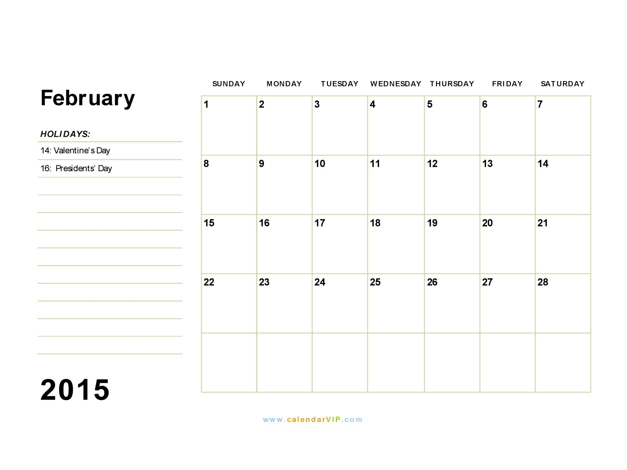 February 2015 Printable Calendar