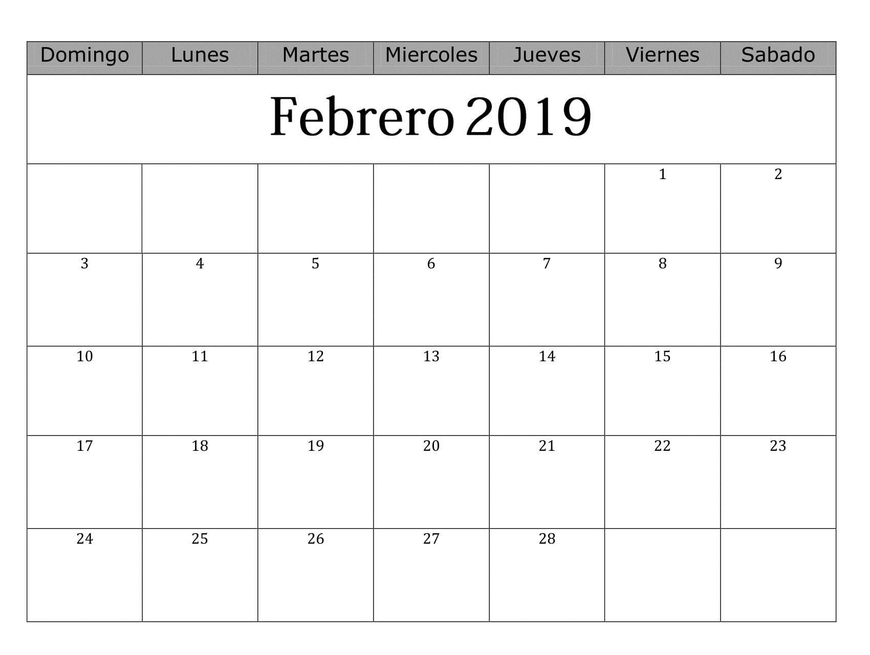 Calendario Febrero 2019 Para Imprimir