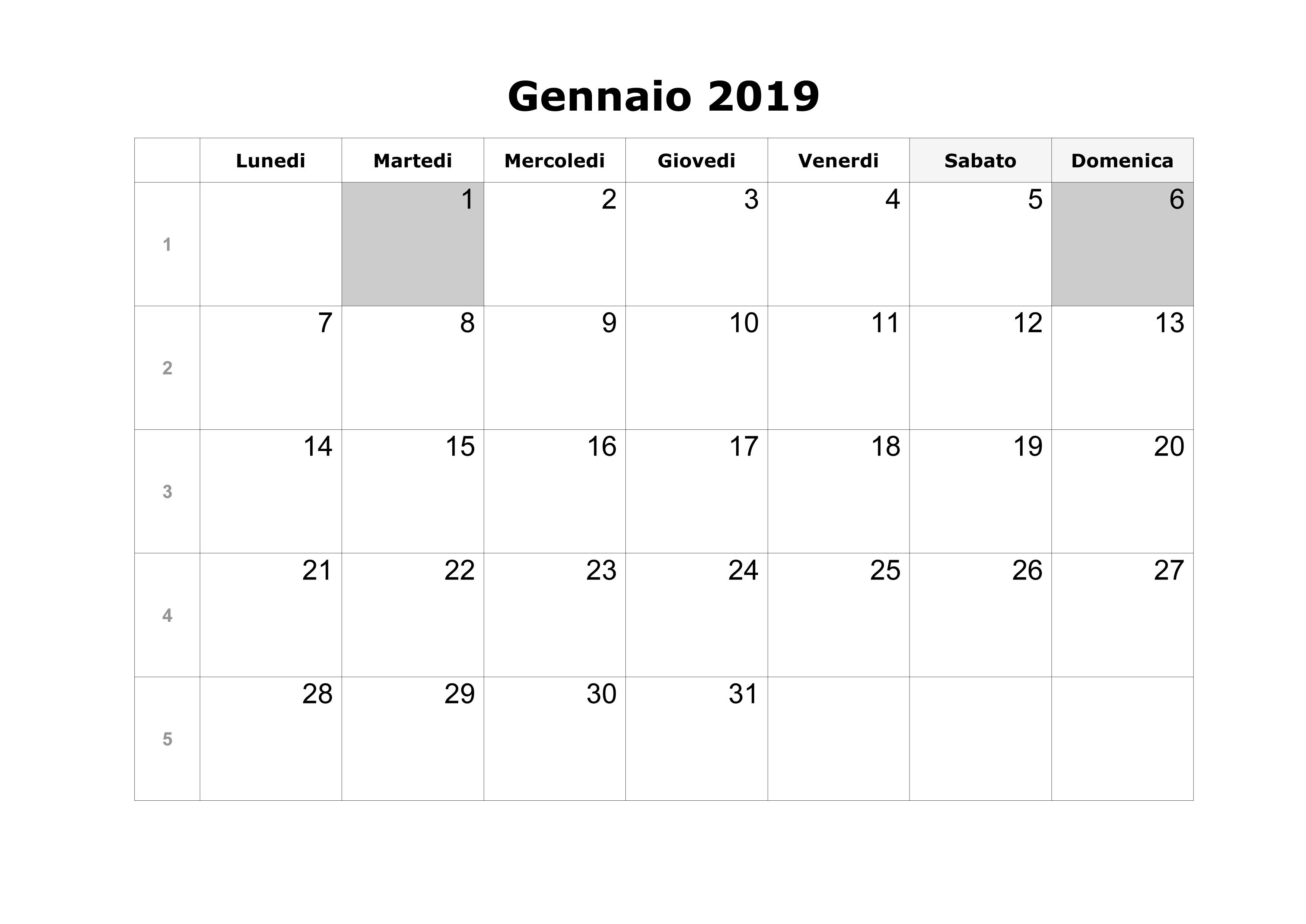 Gennaio Calendario 2019 PDF