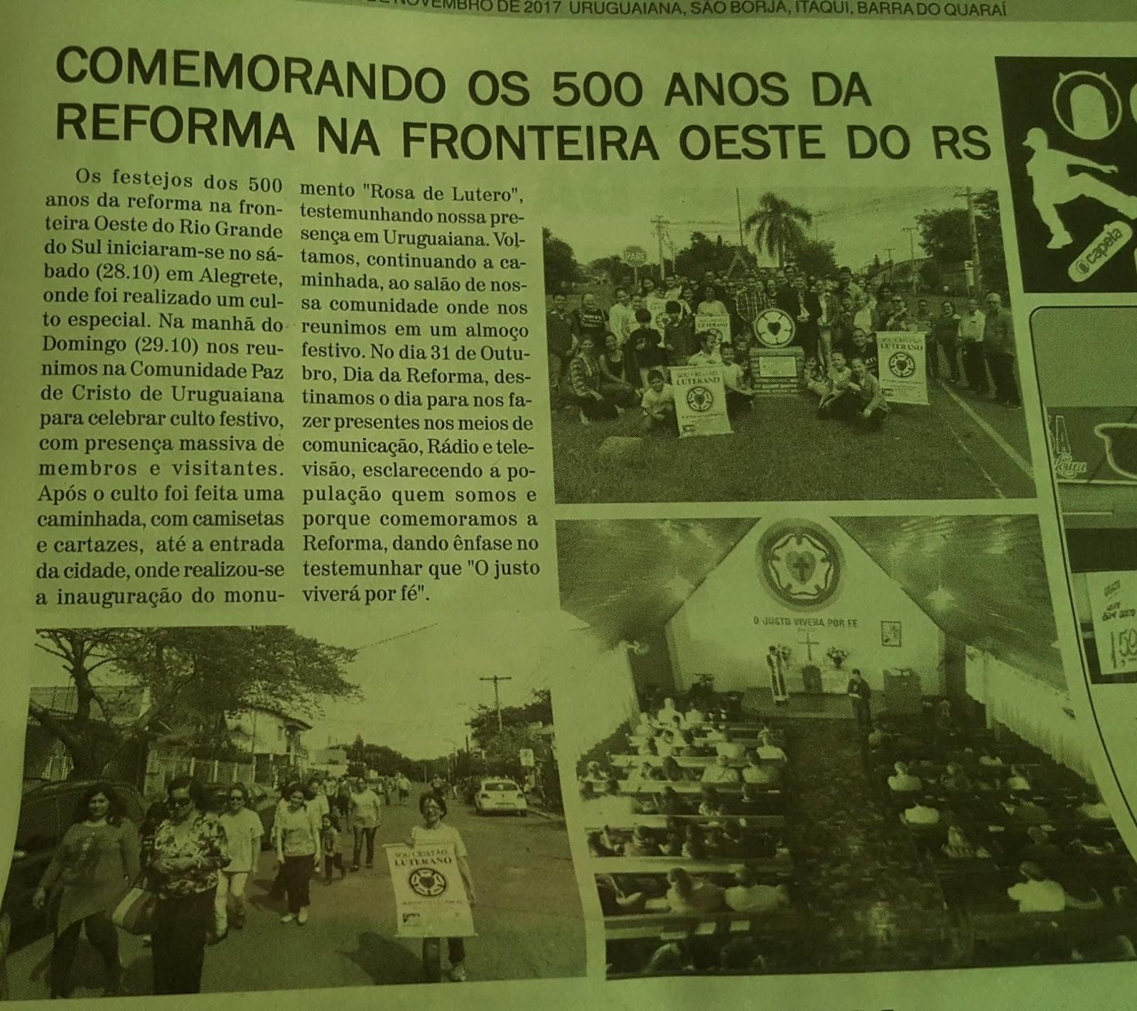"""Fotos a respeito de toda atividade realizada por ocasi£o dos 500 anos da Reforma foram publicadas no dia 11 de Novembro no Jornal """"Pampiano"""""""