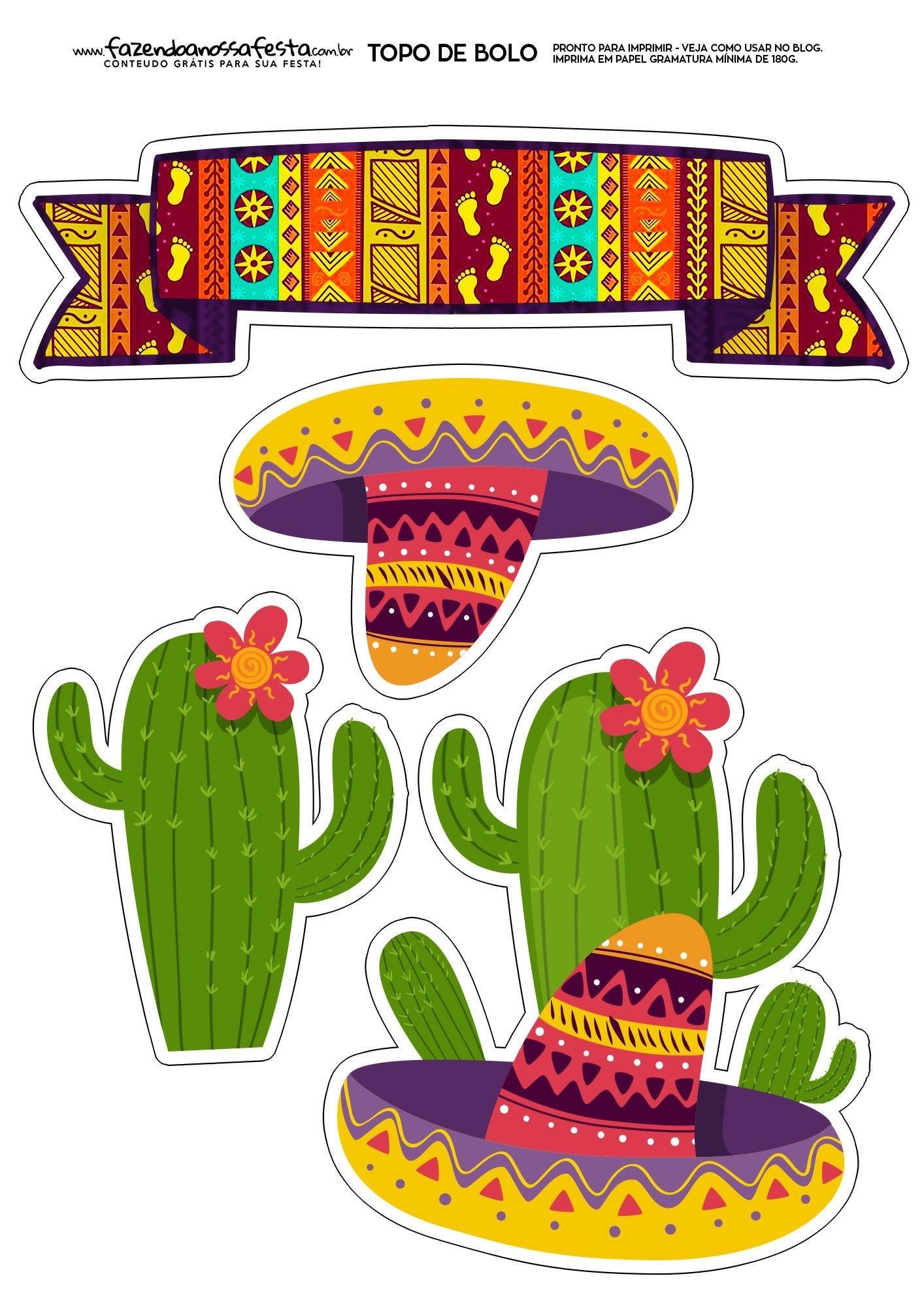 Topo de Bolo Festa Mexicana Free