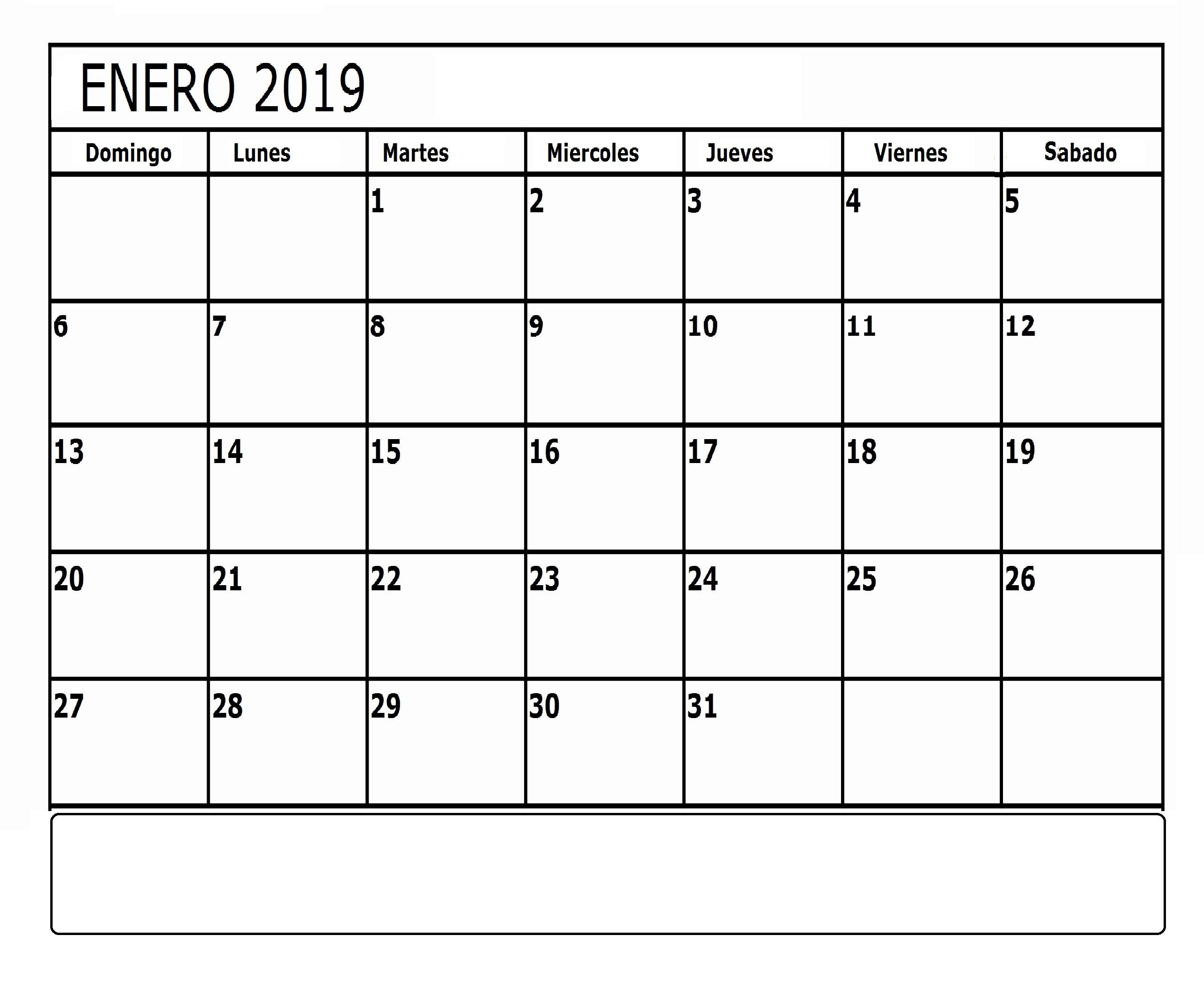 Calendario Enero 2019 Para Imprimir Chile