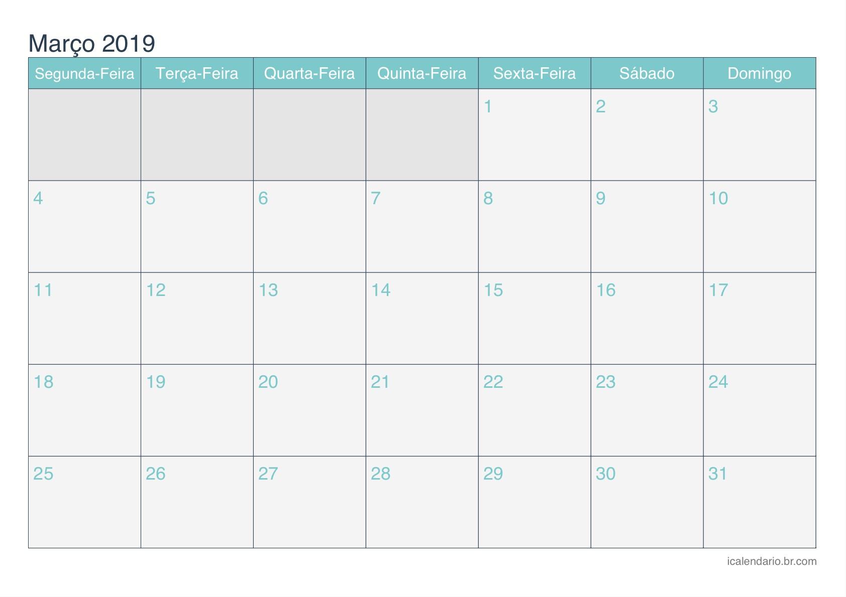 calendario marco 2019 turquesa