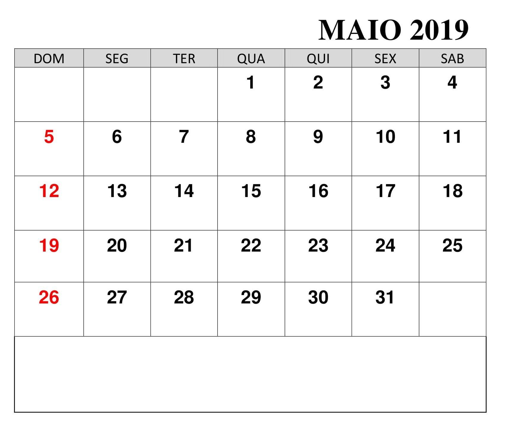 Calendário 2019 Para Imprimir PDF Maio