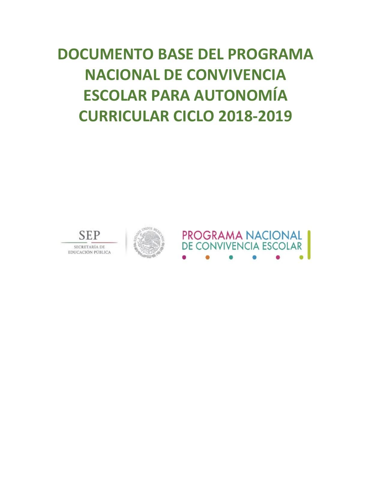 Documento base del Programa Nacional de Convivencia Escolar para Autonoma Curricular Ciclo 2018 2019