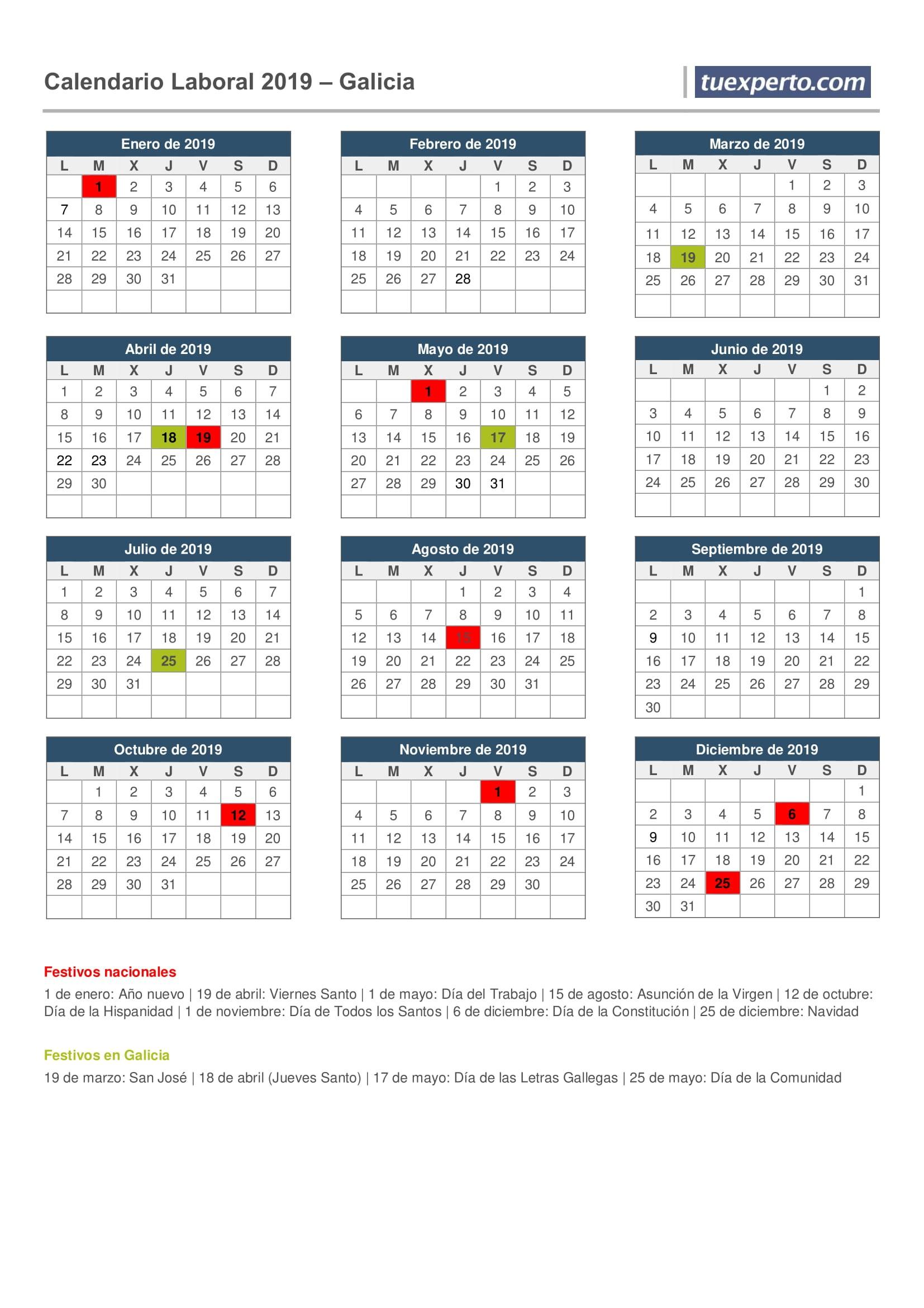 Calendario de vacaciones de plantillas para descargar 1654x2339 Puentes galicia festivo calendario 201
