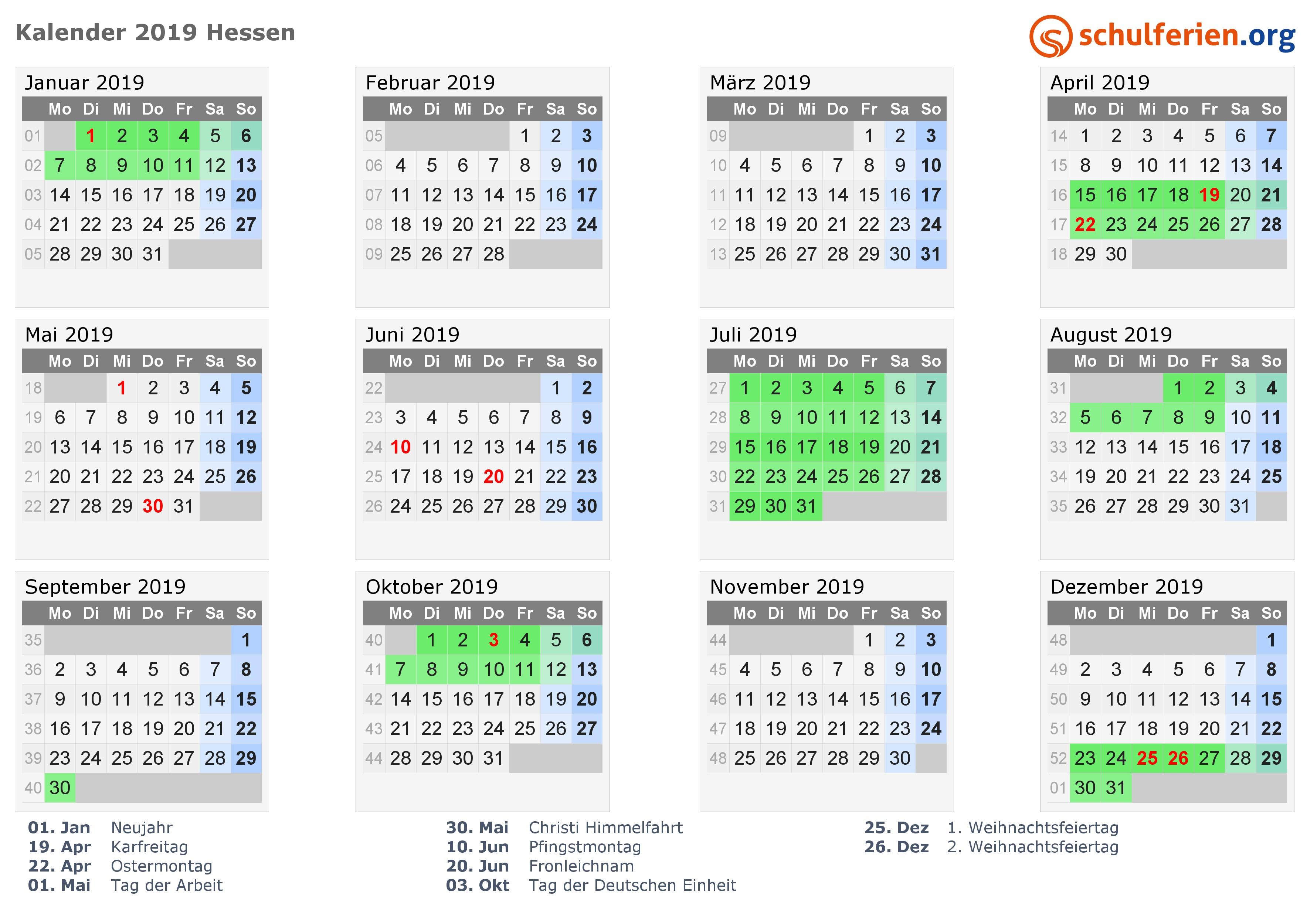 Kalender 2019 2020 Hessen