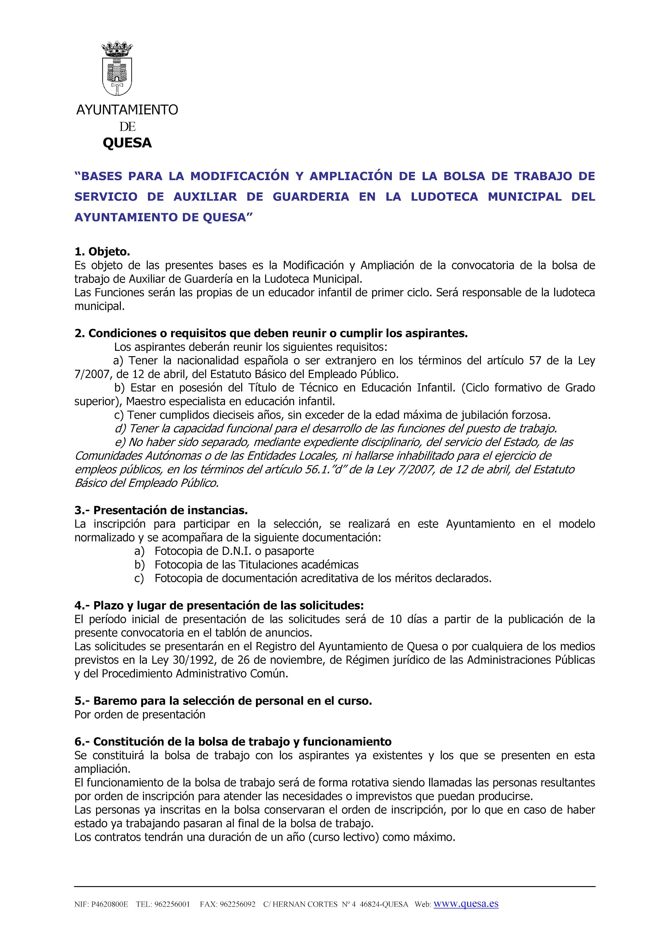 Bases Bolsa de Trabajo Servicio Auxiliar de Guardera en Ludoteca Municipal