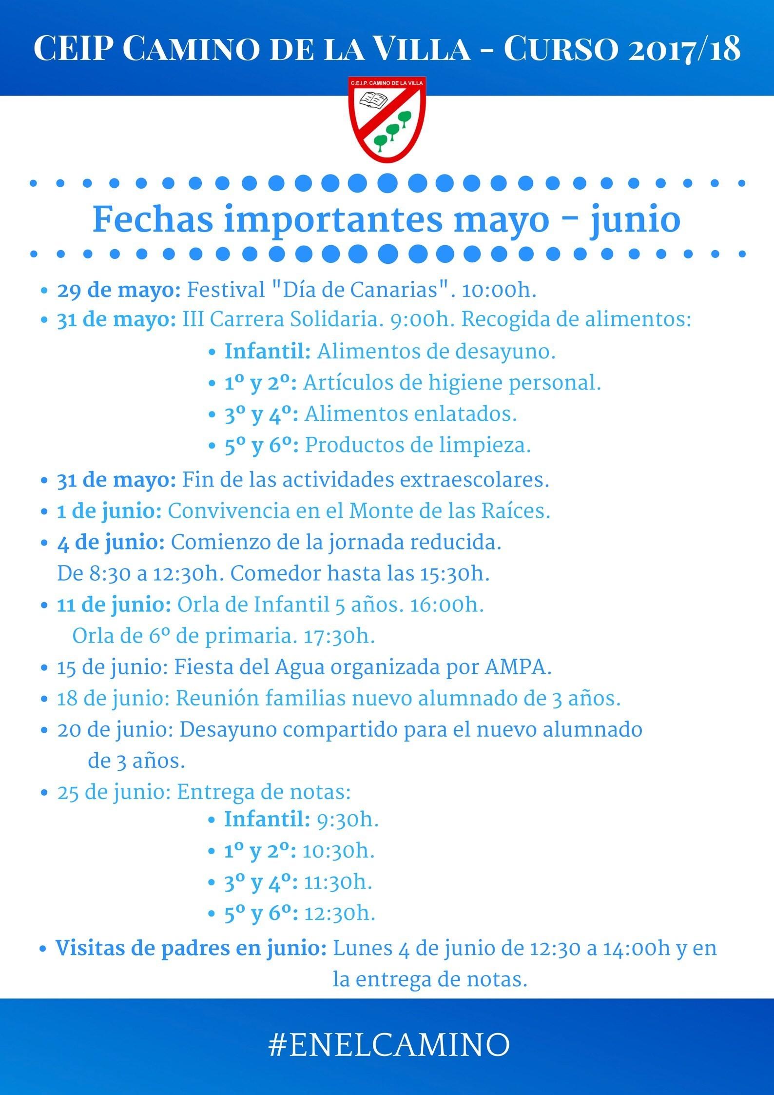 Fechas Importantes De Mayo Y Junio Colegio Camino De La Villa