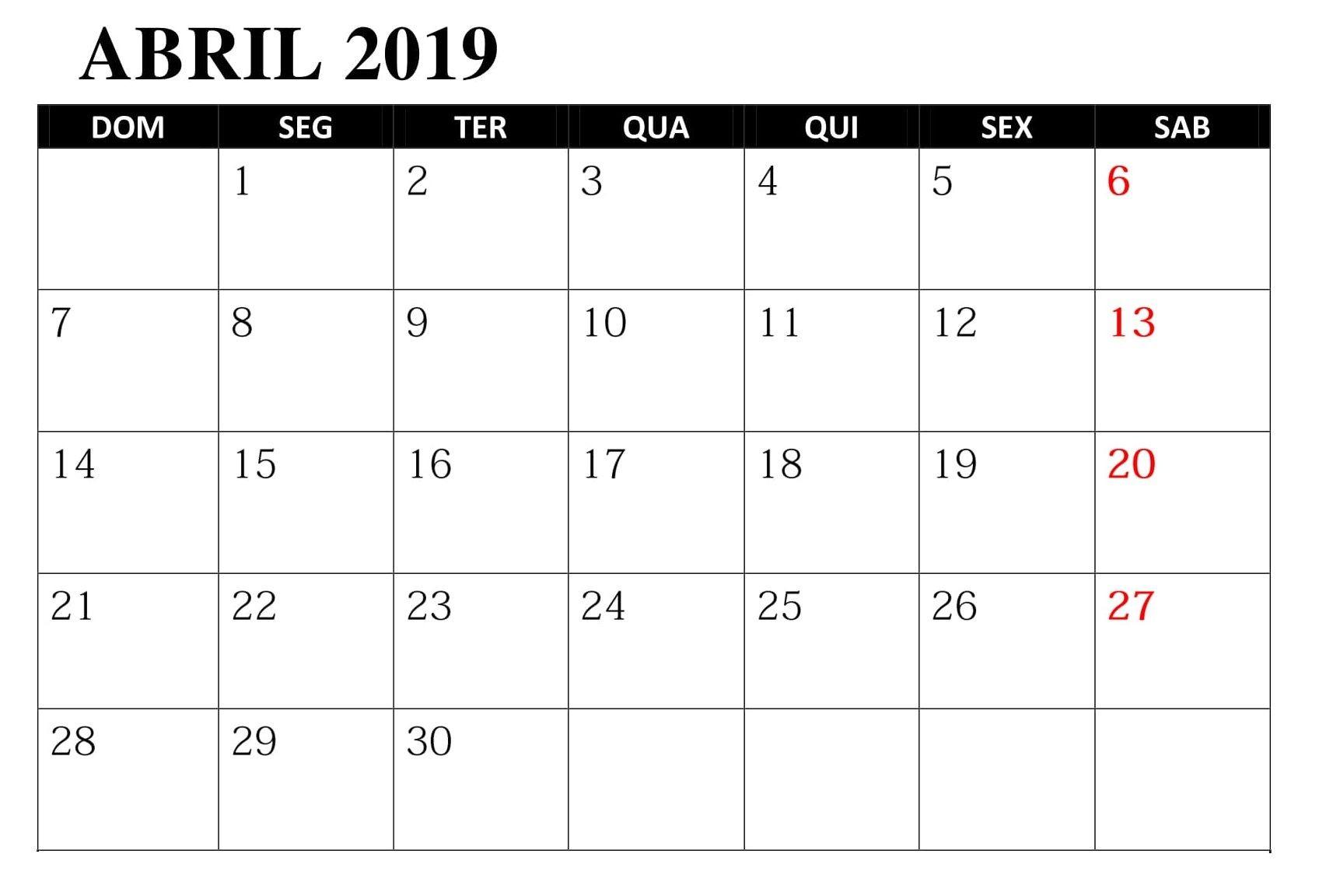 Calendario Abril 2019 Para Imprimir t