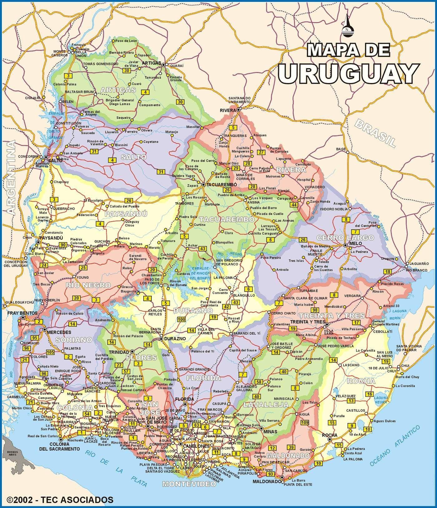 Descargar mapa politico de uruguay