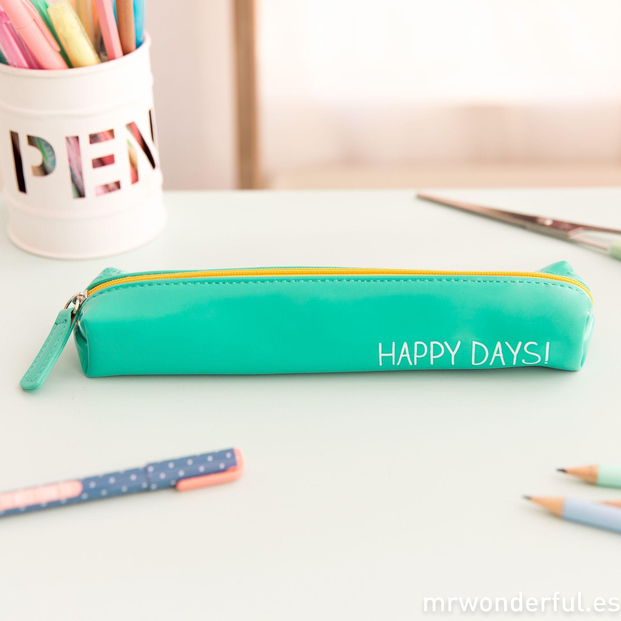 """Calendario Escolar Oficial 2018 Y 2019 Sep Más Populares Estuche Mint Peque±o """"happy Days"""" Guarda todos Tus Bolis Lápices"""