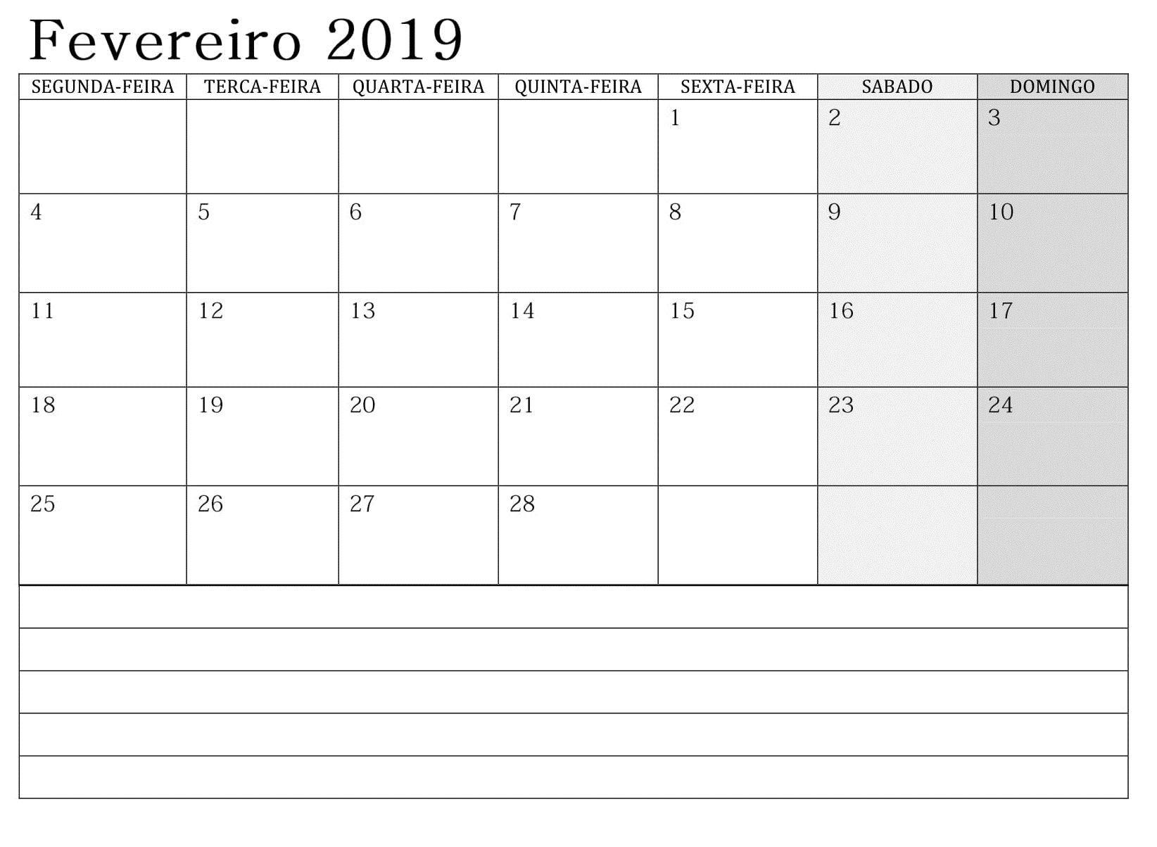 Calendƒ¡rio Fevereiro 2019