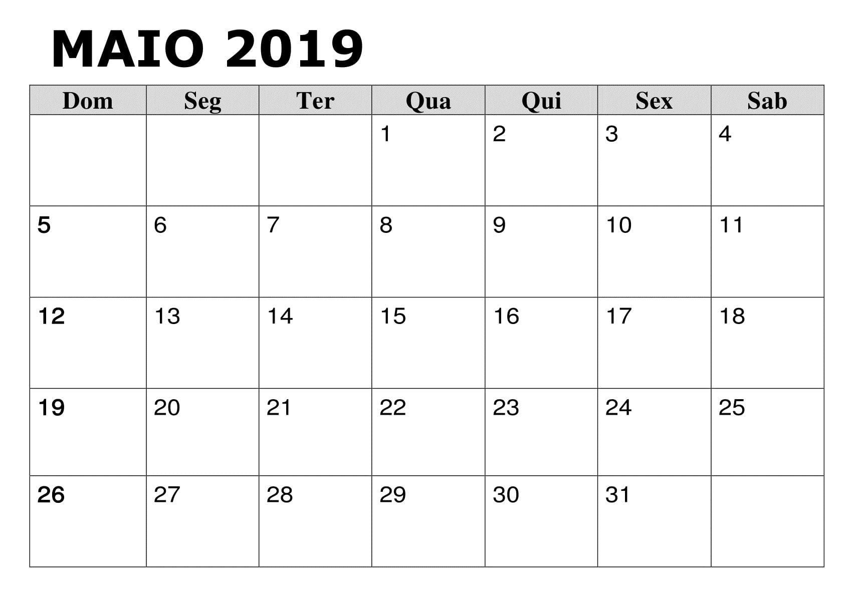 2019 Calendário Maio PDF