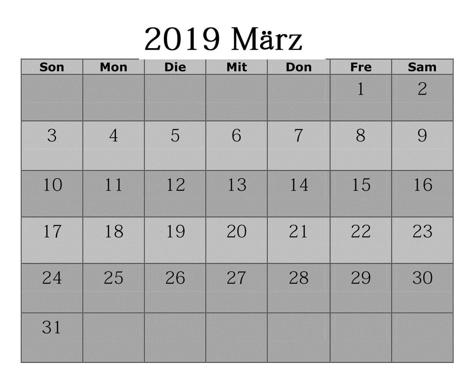 2019 Kalender März Zum Ausdrucken Calendario Marzo 2019