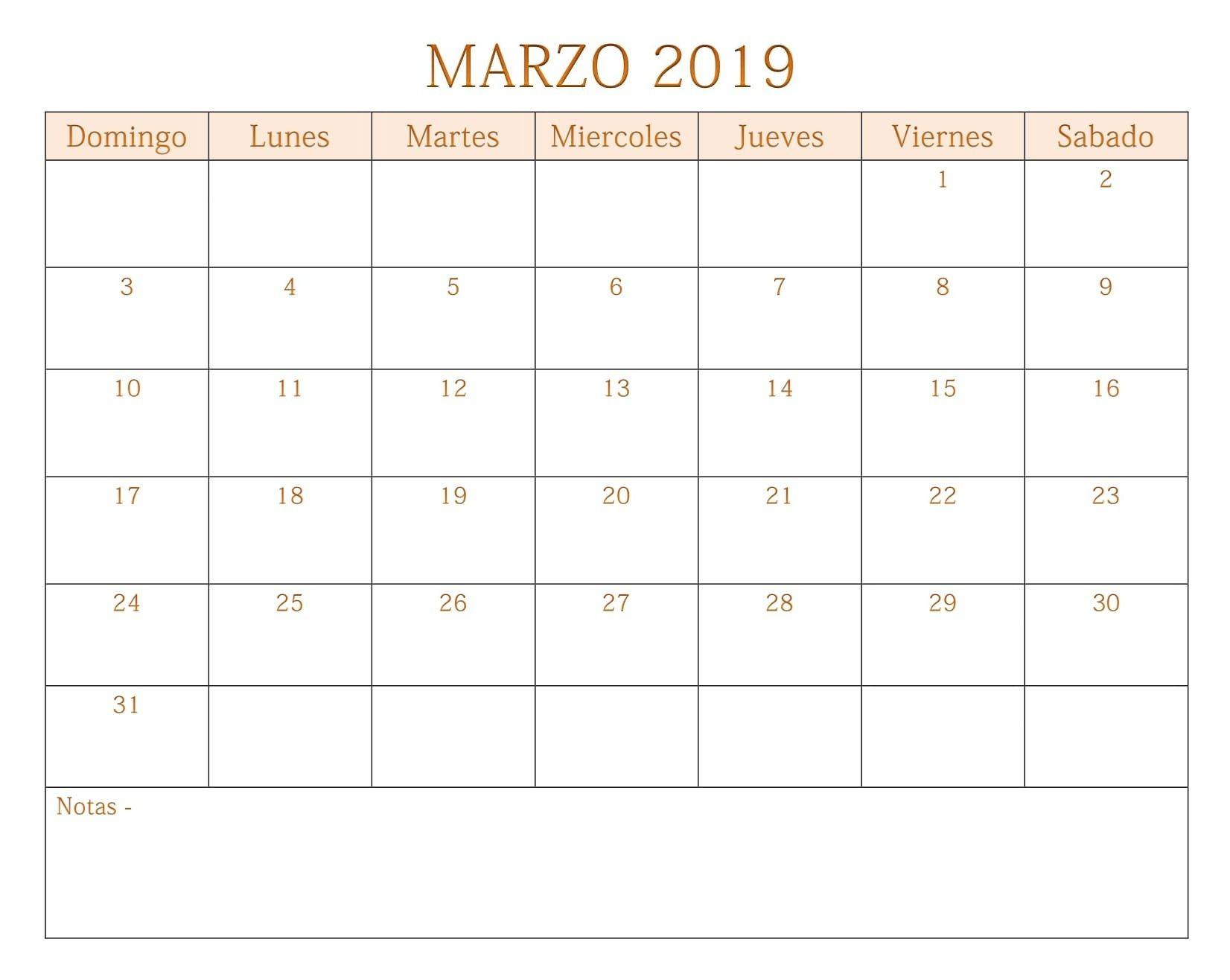 Calendario Marzo 2019 Calendario Marzo 2019 Para Imprimir