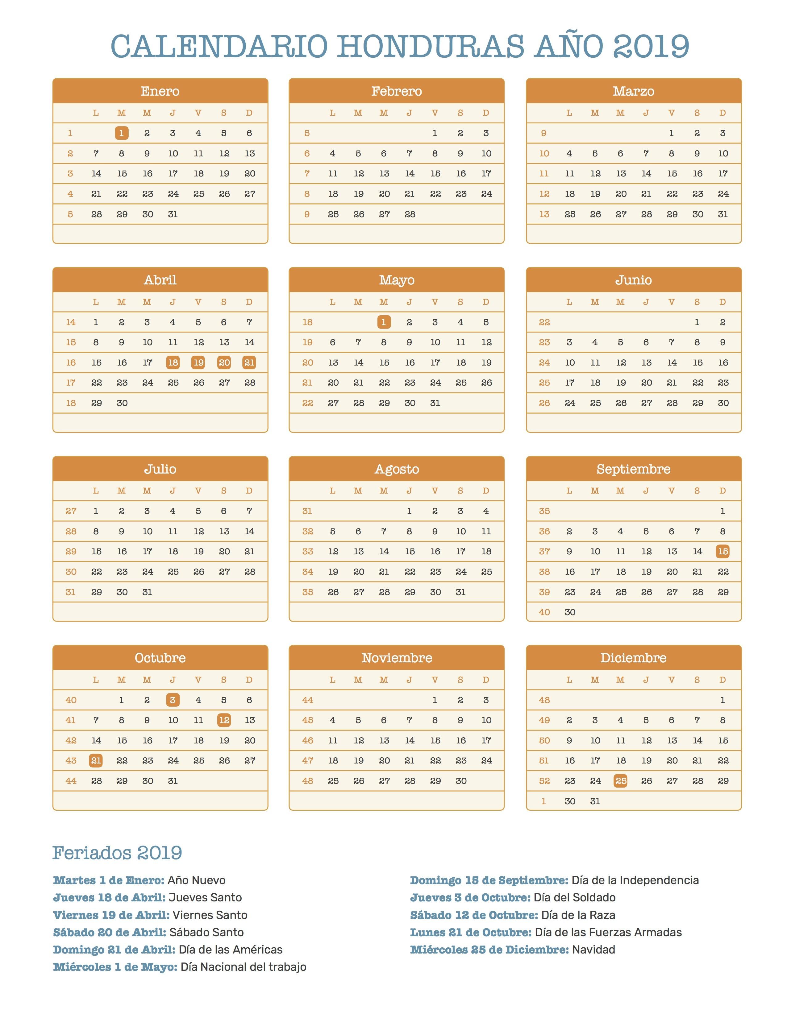 Calendario Honduras 2019