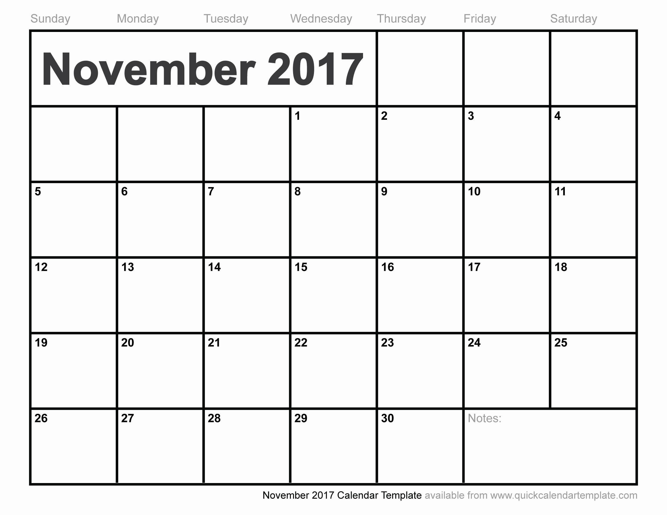 New Free Printable November 2017 Calendar With Holidays Classy World