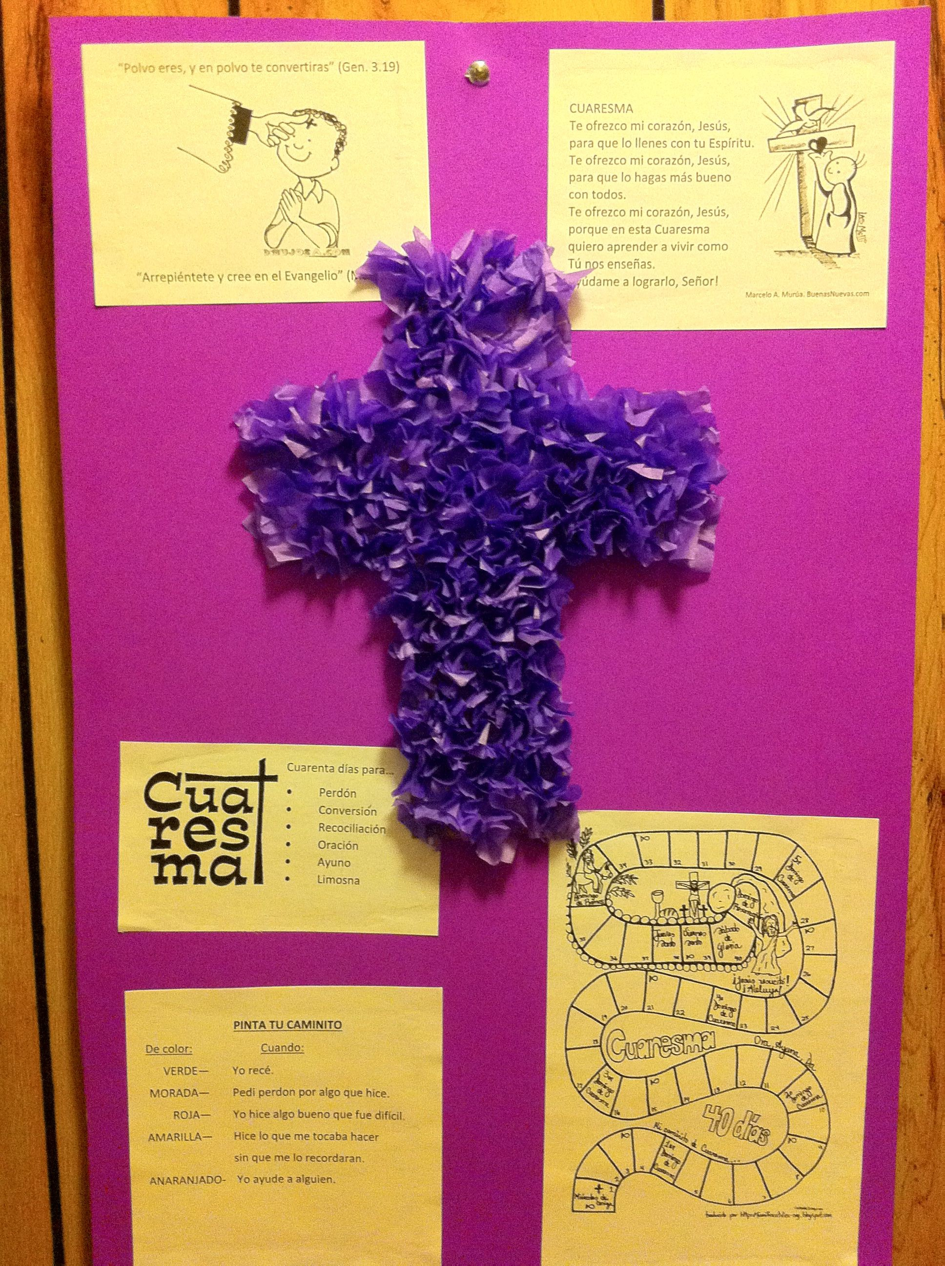 Poster de Cuaresma Cruz morada hecha de papel de seda Miércoles de