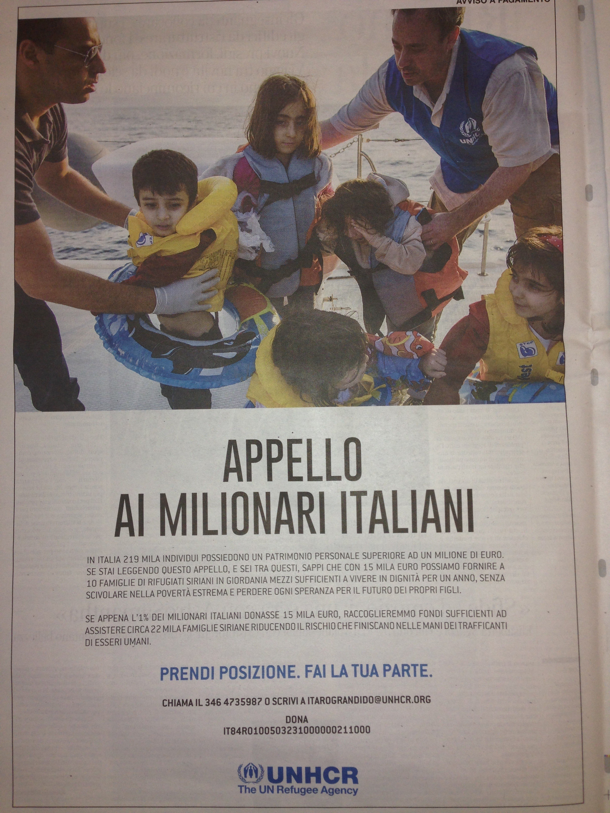 """e si legge nel testo dell appello firmato dall Unhcr """"una donazione di 15 000 euro sarebbe sufficiente per fornire a ci famiglie di rifugiati siriani"""