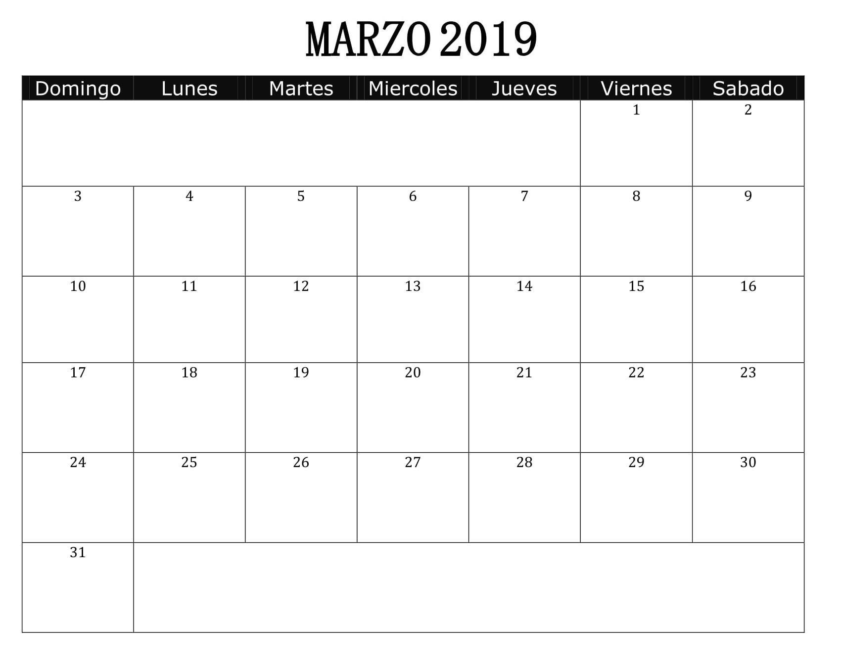 Calendario Marzo 2019 Para Imprimir