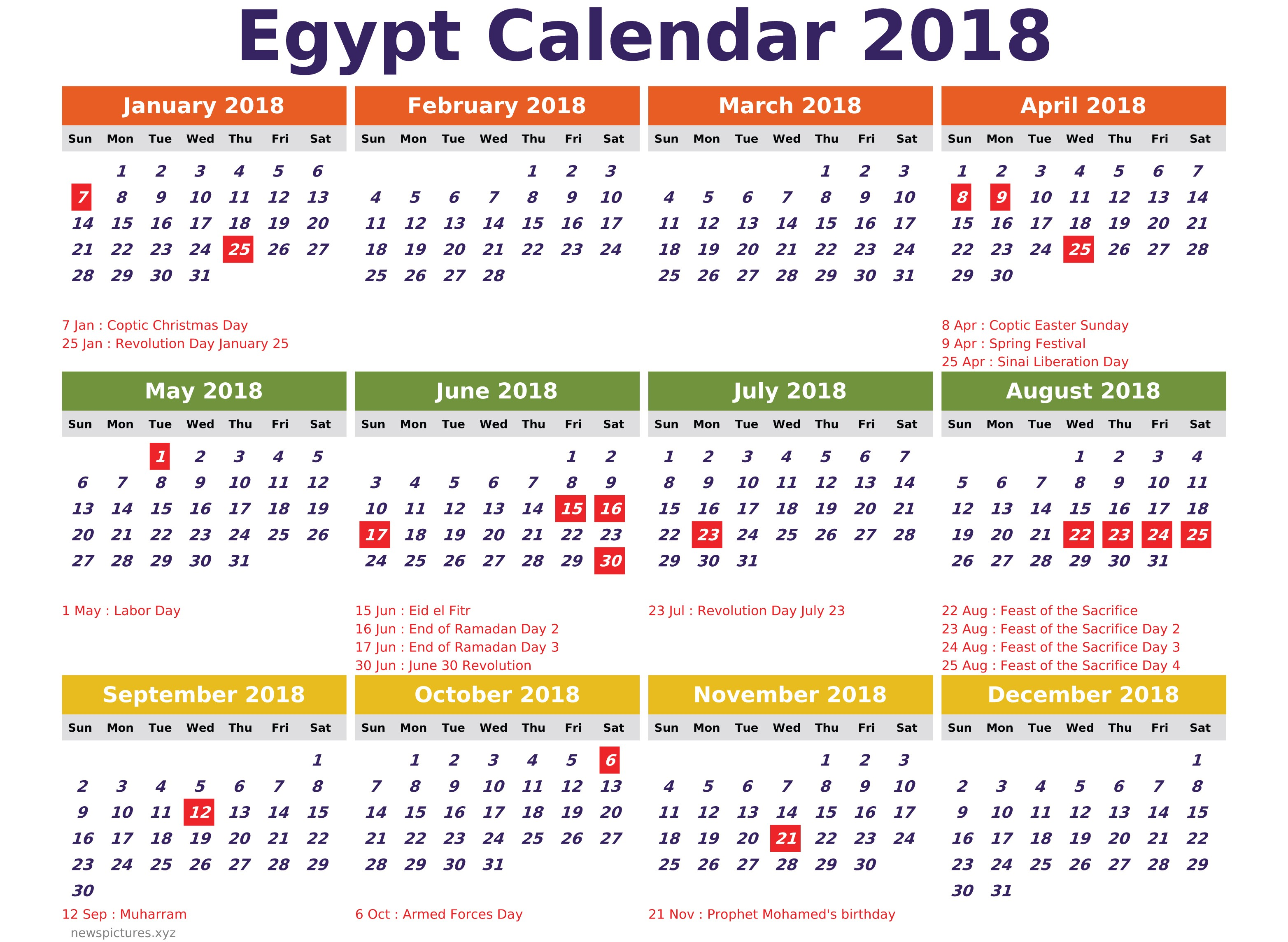 2018 Calendar Cdr With Egypt Newspictures Xyz