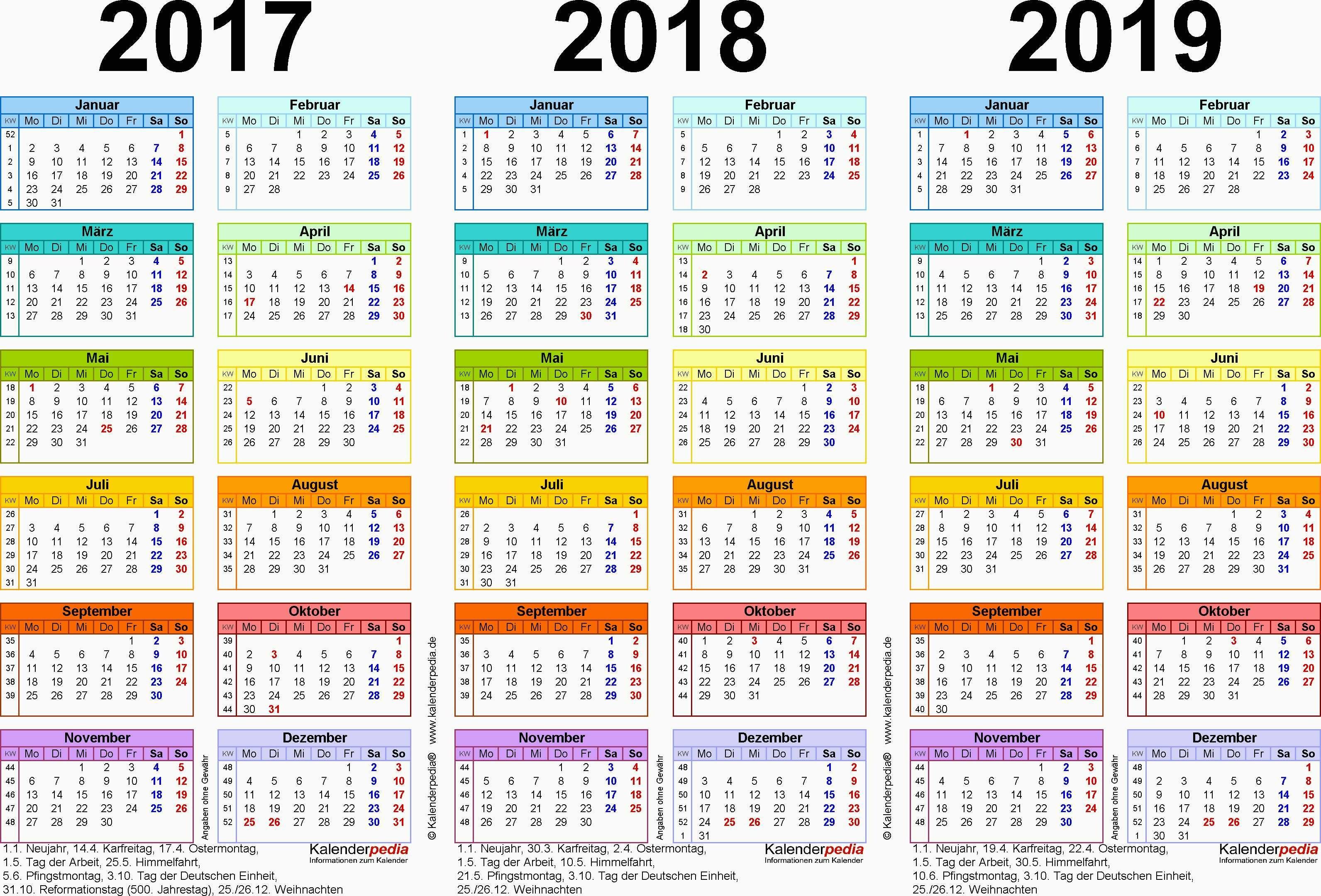 Jahreskalender 2017 Niedersachsen Luxus Dreijahreskalender 2017 2018 2019 Als Excel Vorlagen Zum Ausdrucken